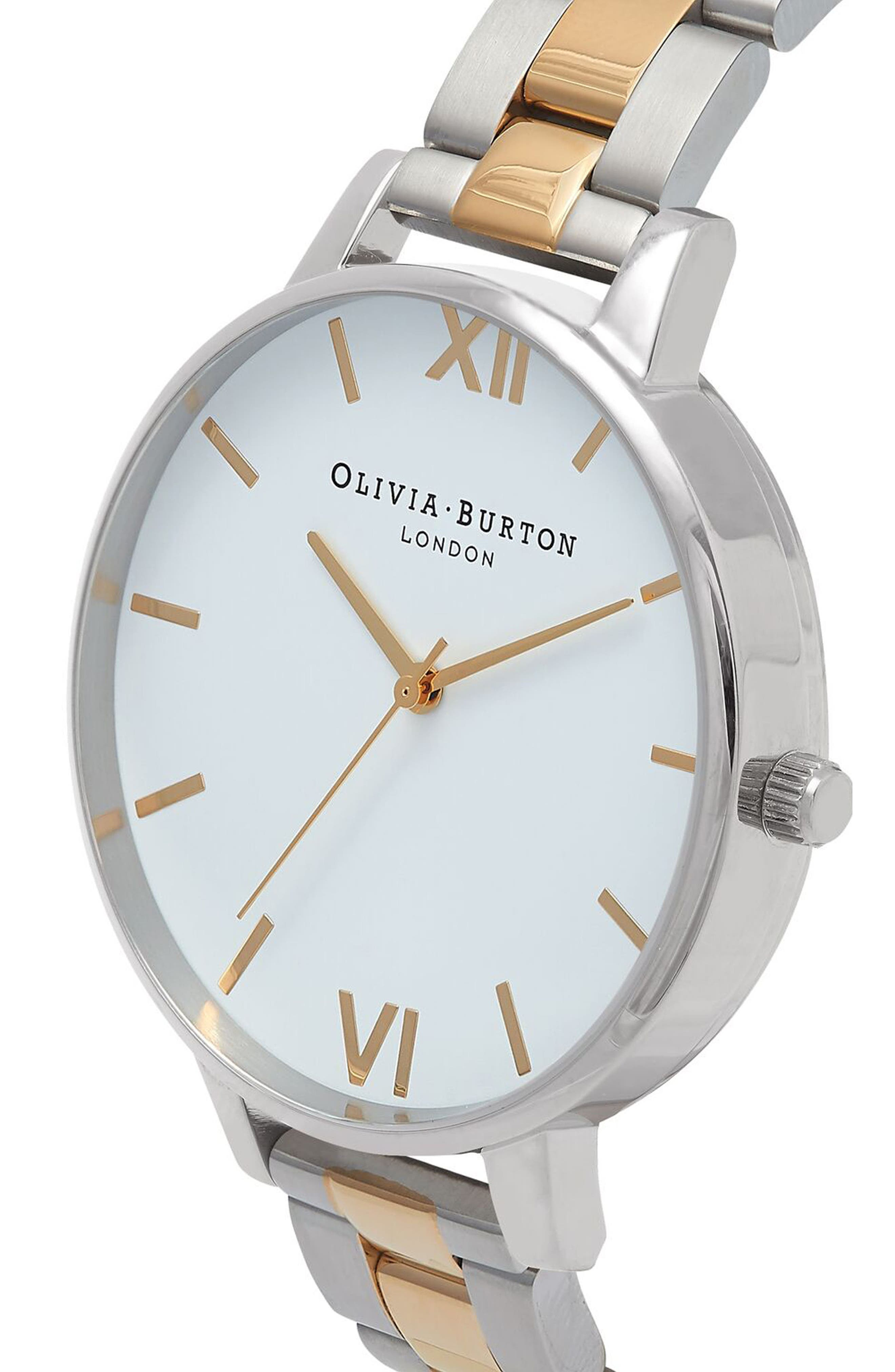Big Dial Bracelet Watch, 38mm,                             Alternate thumbnail 3, color,                             White