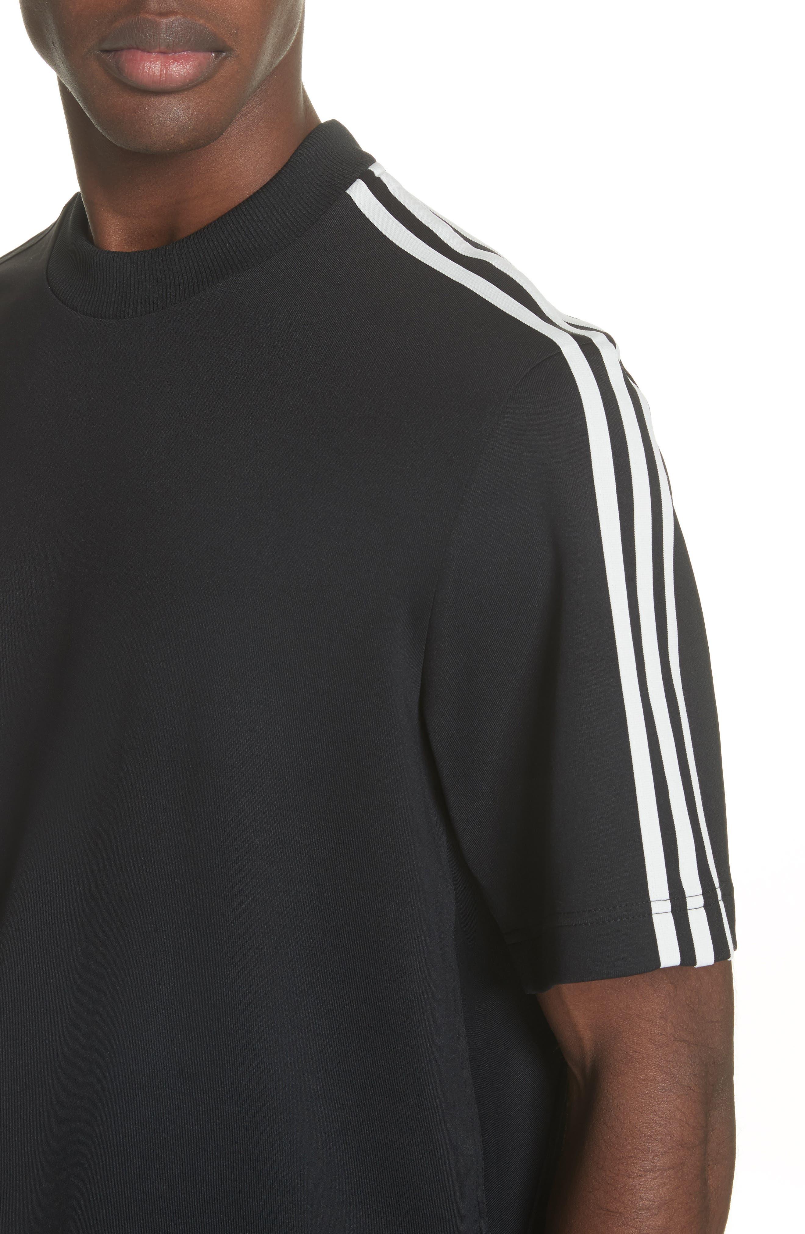 White Stripe Crewneck T-Shirt,                             Alternate thumbnail 4, color,                             Black