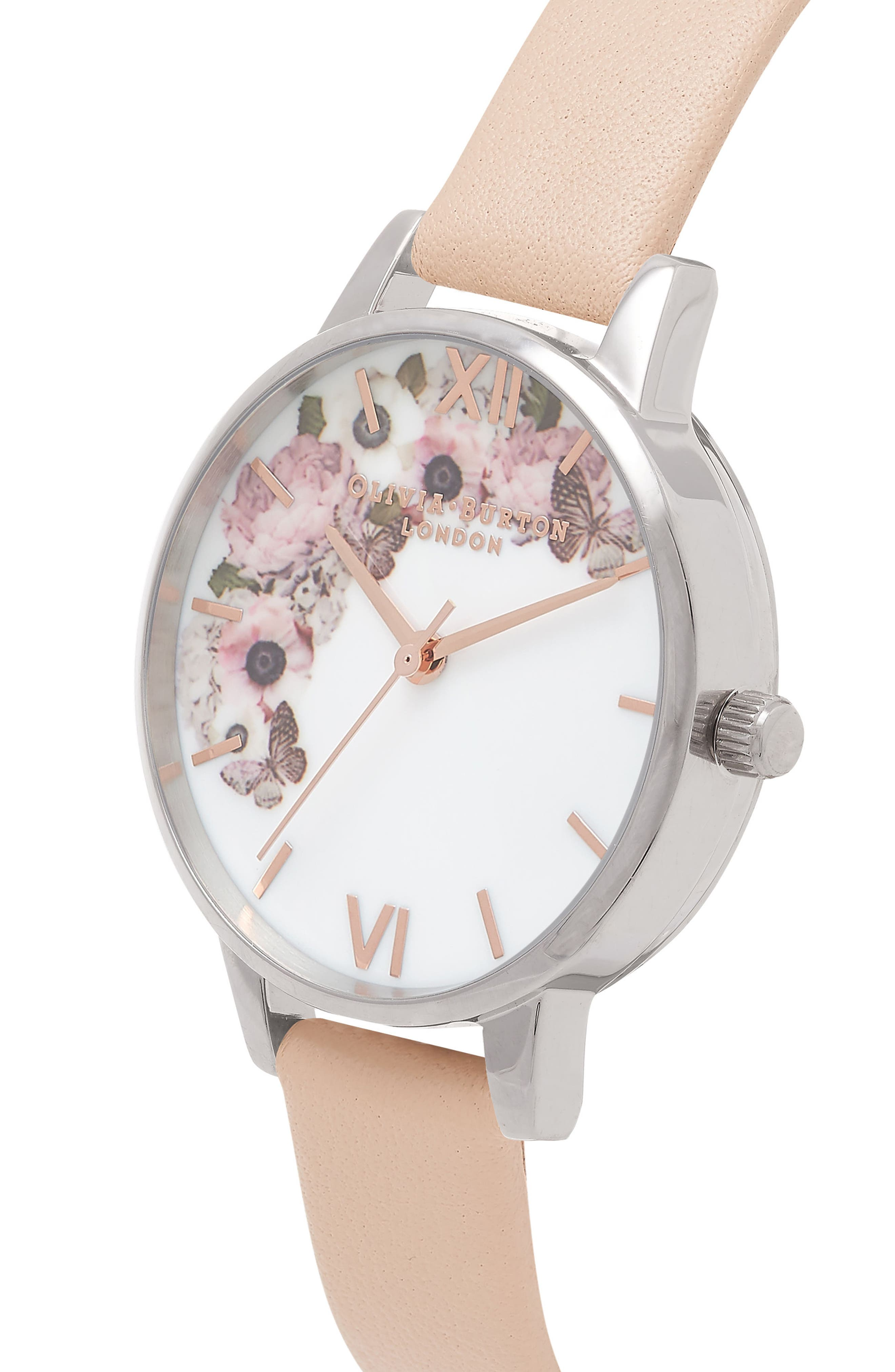 Enchanted Garden Leather Strap Watch, 30mm,                             Alternate thumbnail 3, color,                             White Flower
