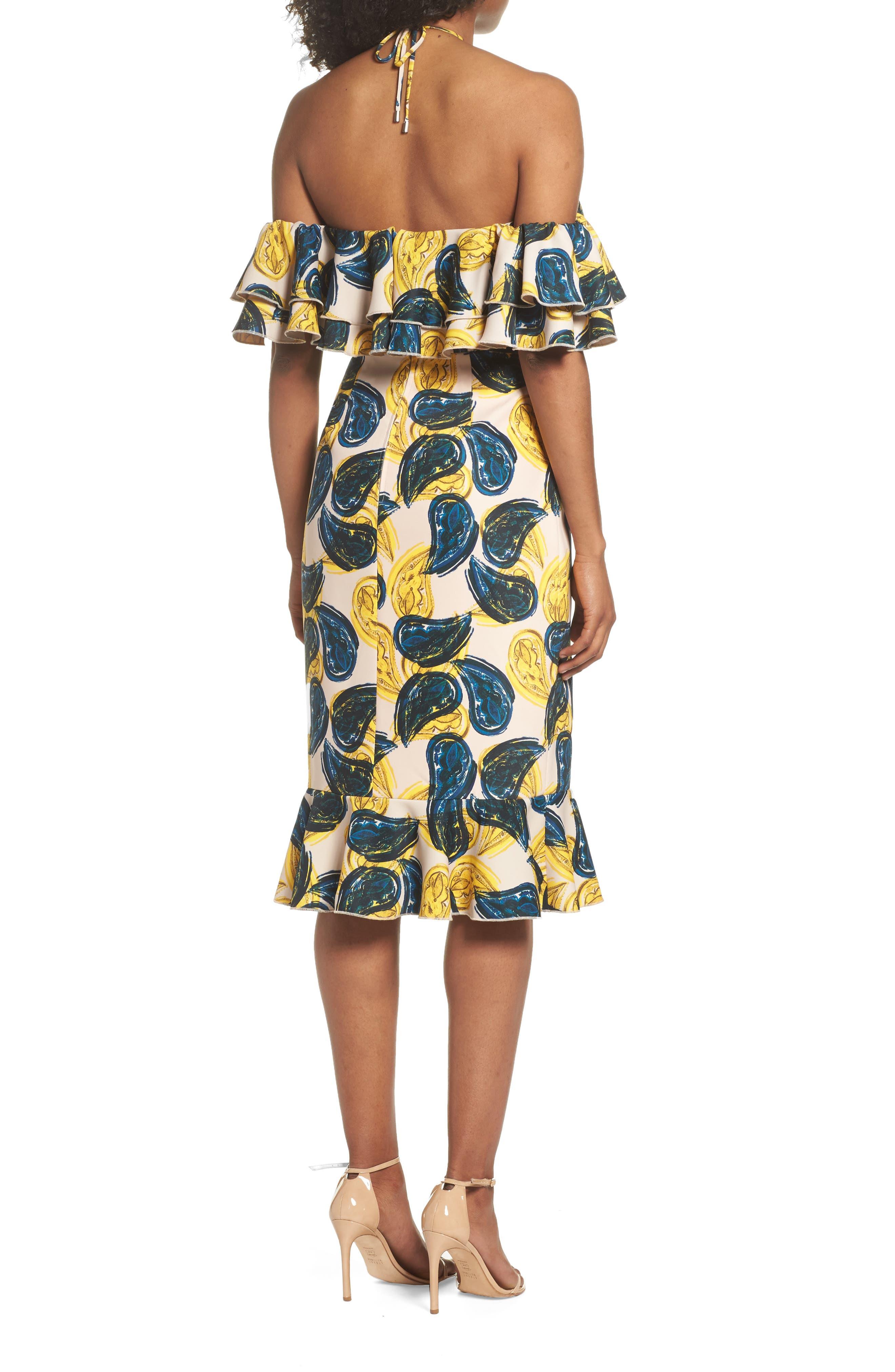 Temptation Halter Sheath Dress,                             Alternate thumbnail 3, color,                             Blush Paisley
