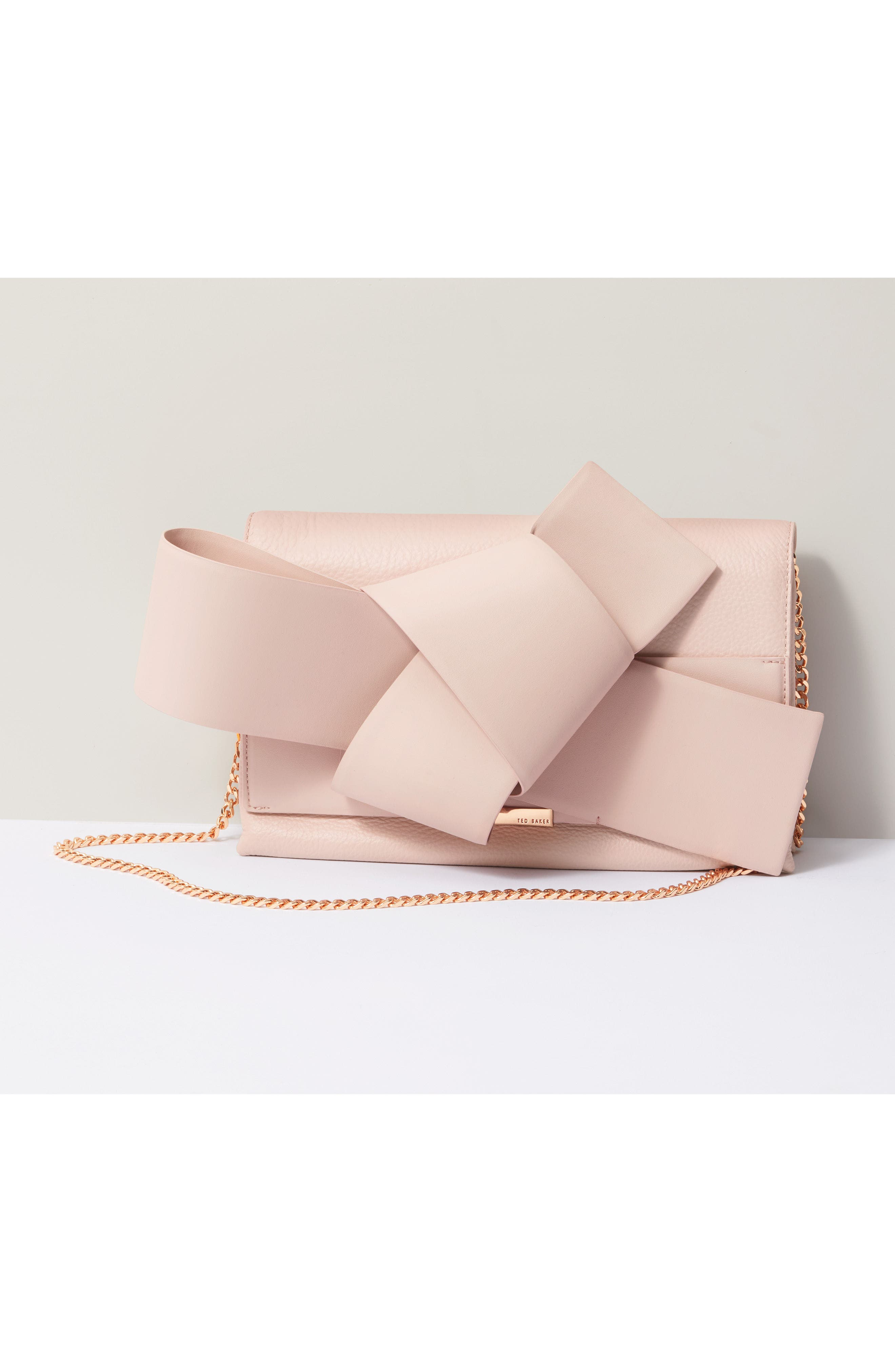 Knotted Bow Leather Clutch,                             Alternate thumbnail 7, color,                             Light Pink