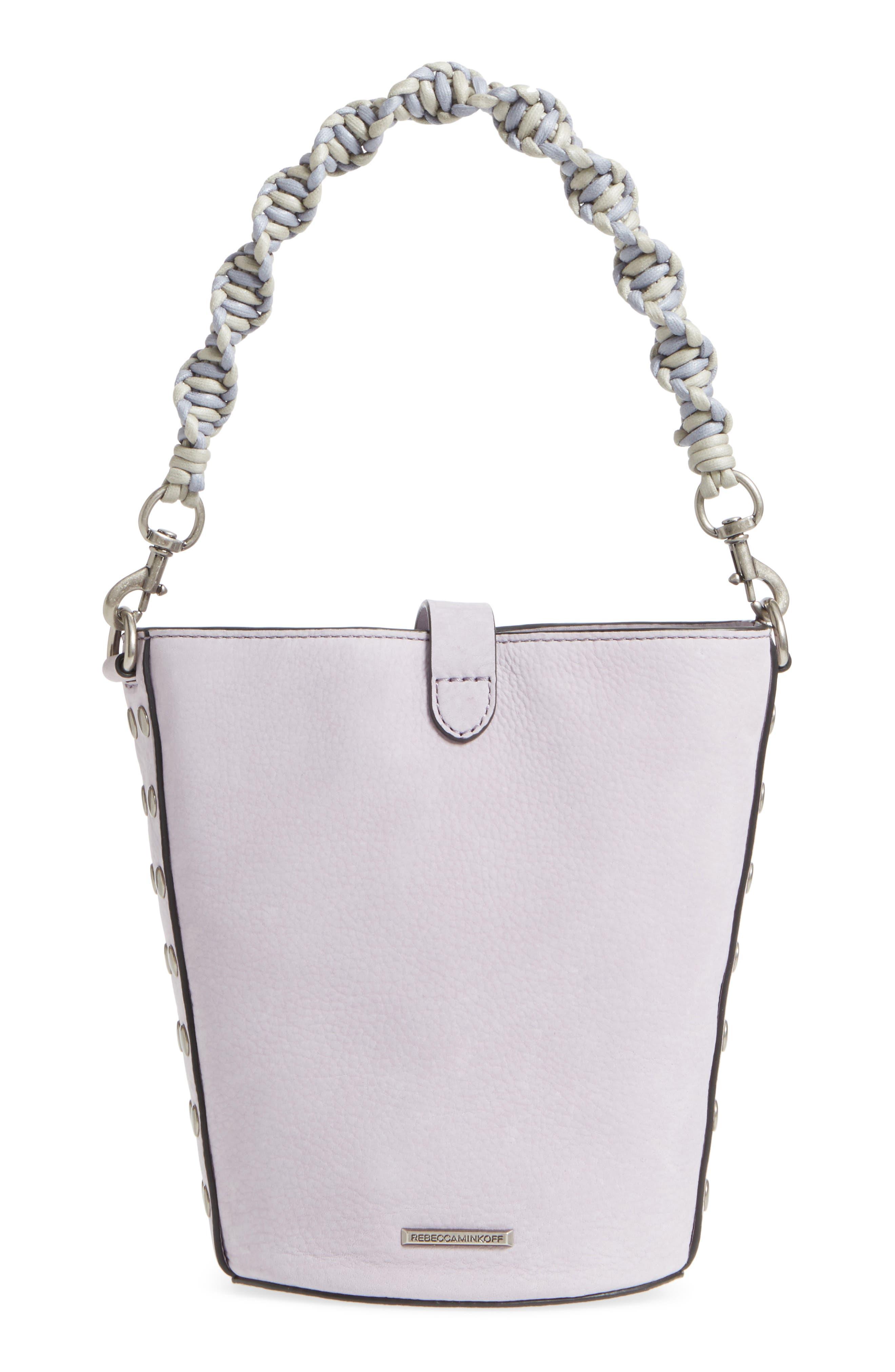 Slim Leather Bucket Bag,                             Alternate thumbnail 3, color,                             Violino