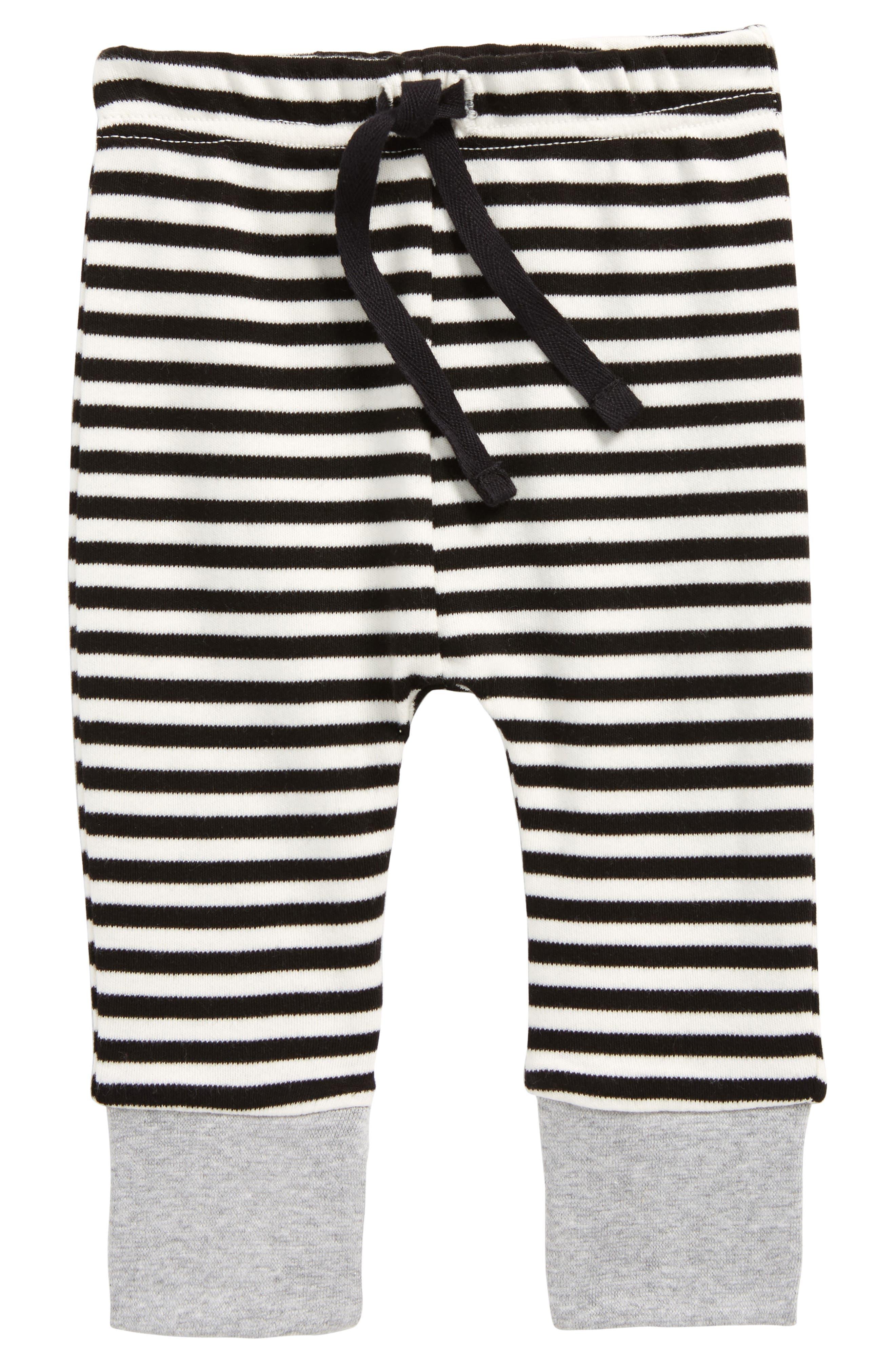 Stripe Organic Cotton Jogger Pants,                             Main thumbnail 1, color,                             Black/ Off White