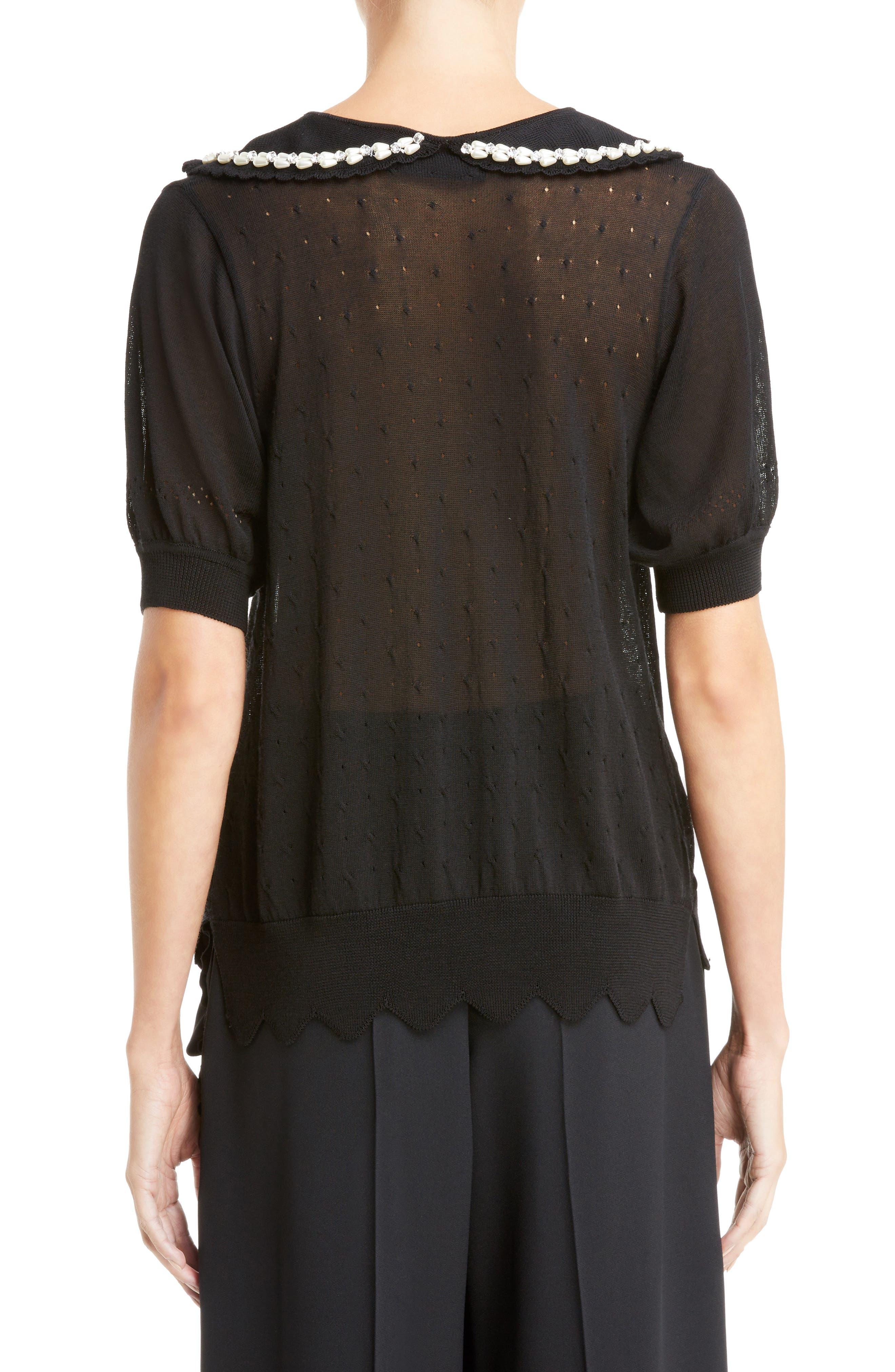 Beaded Lace Knit Cardigan,                             Alternate thumbnail 2, color,                             Black