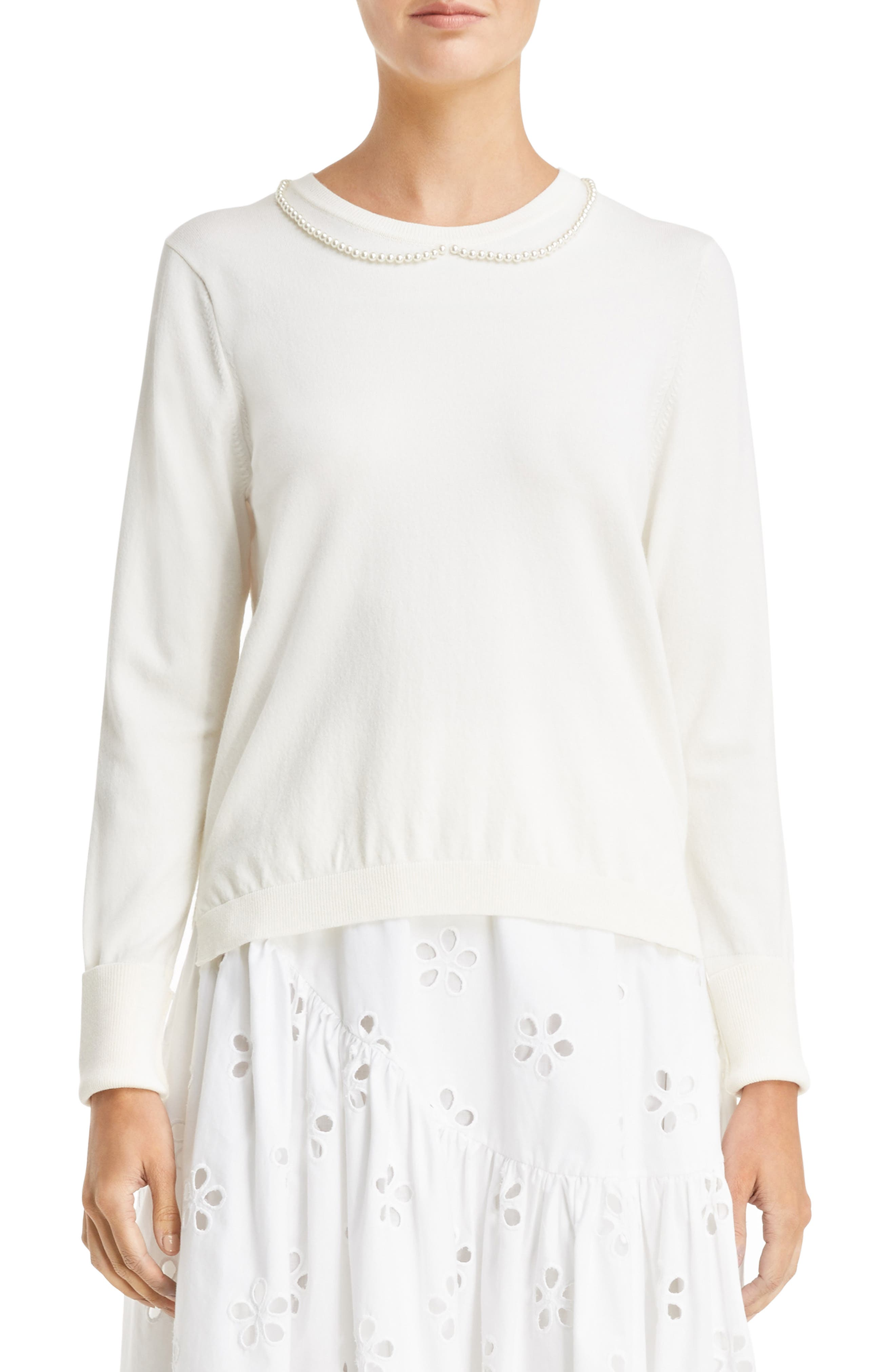 Imitation Pearl Embellished Sweater,                             Main thumbnail 1, color,                             Ivory Pearl