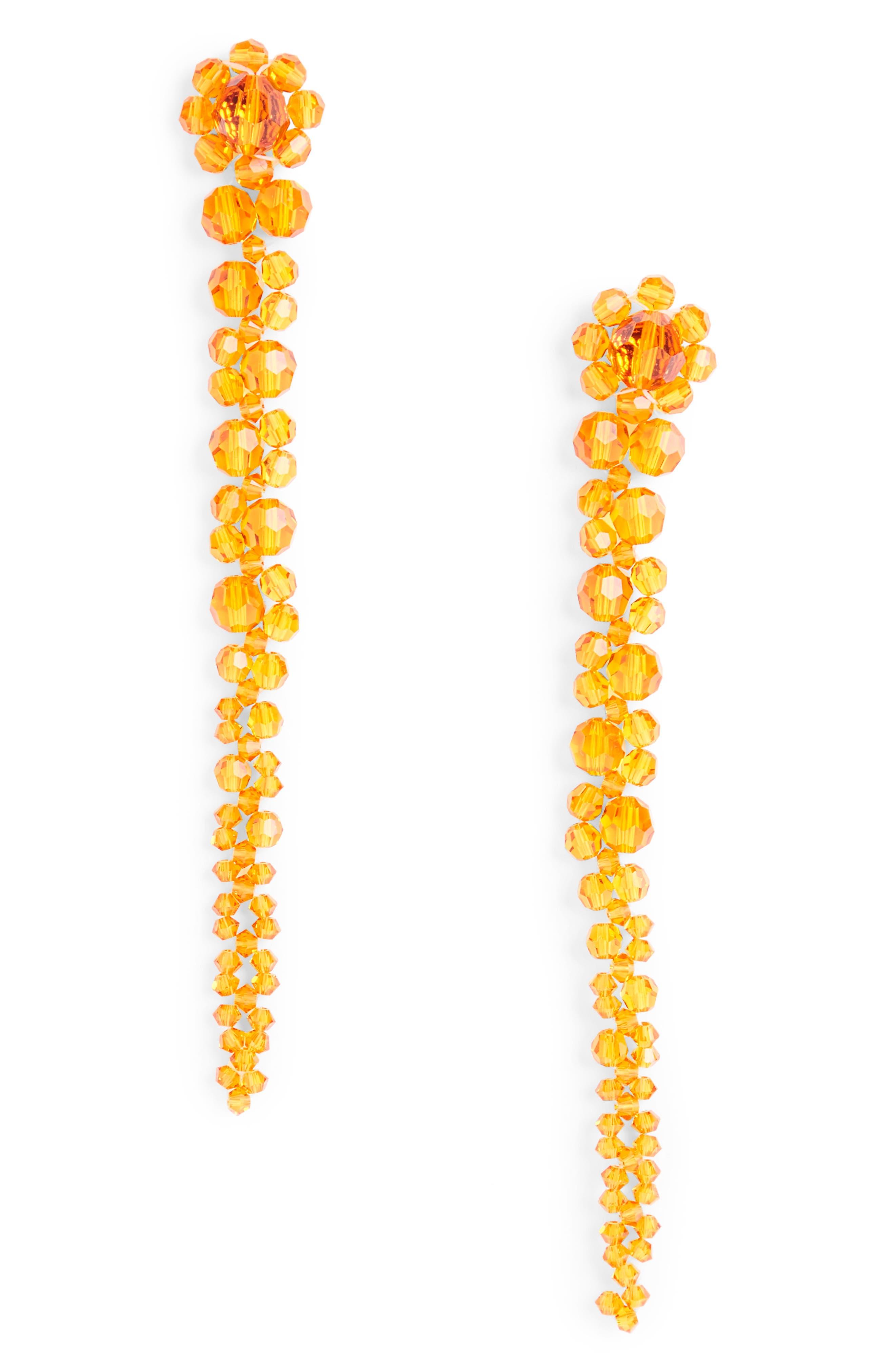 Beaded Drop Earrings,                             Main thumbnail 1, color,                             Clementine