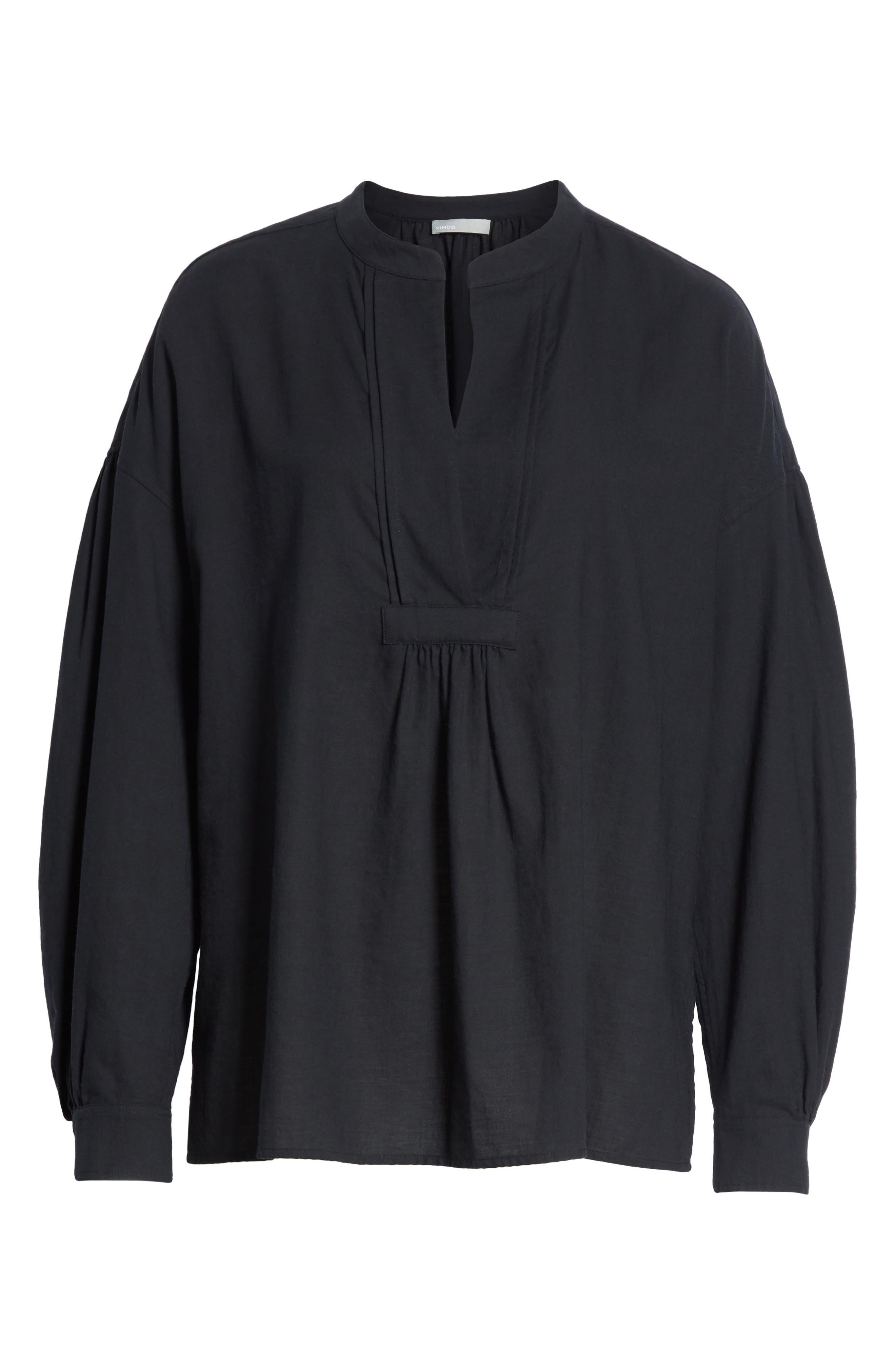 Shirred Cotton Blouse,                             Alternate thumbnail 6, color,                             Black