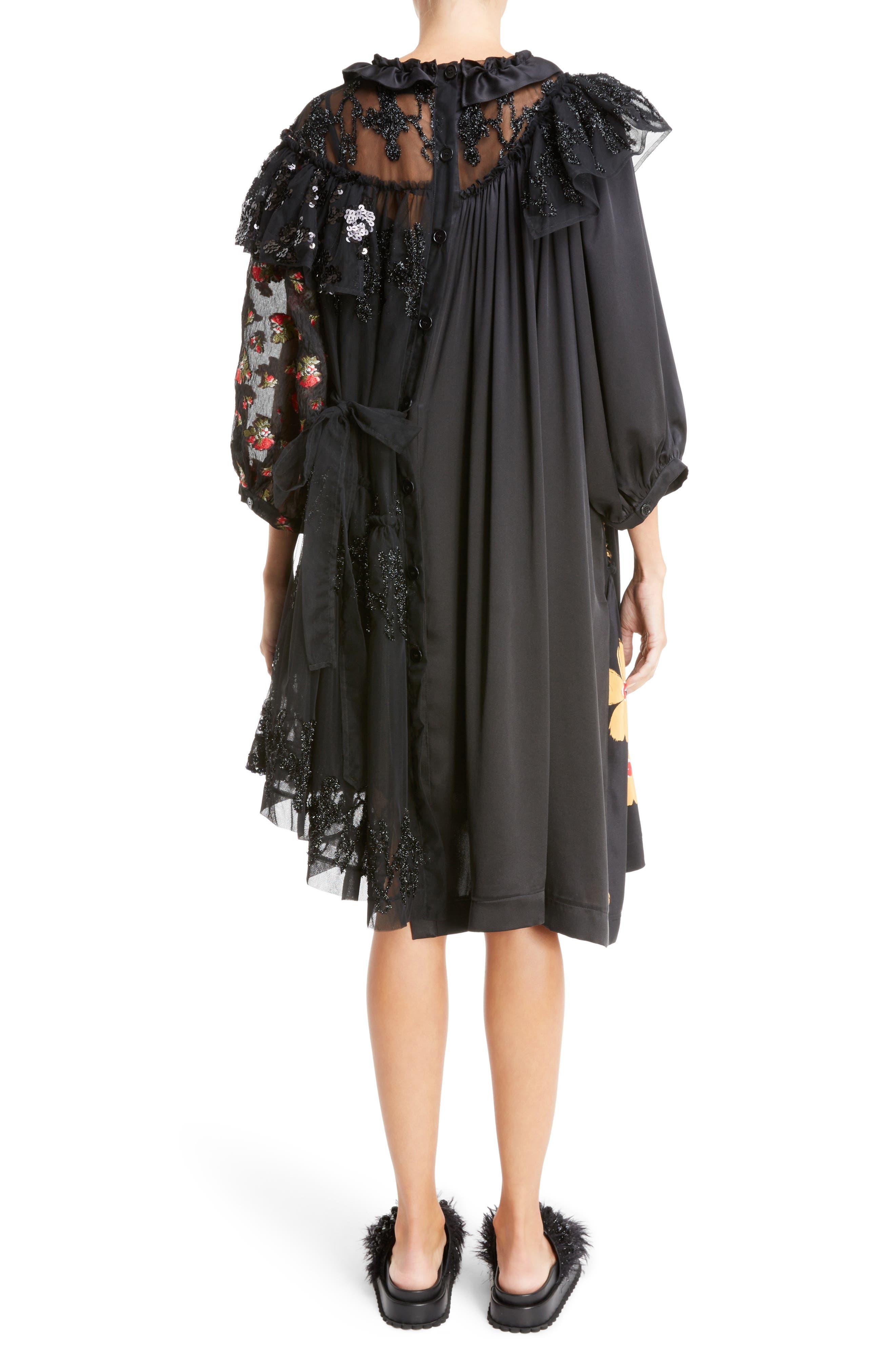 Frill Patchwork Dress,                             Alternate thumbnail 2, color,                             Black Multi