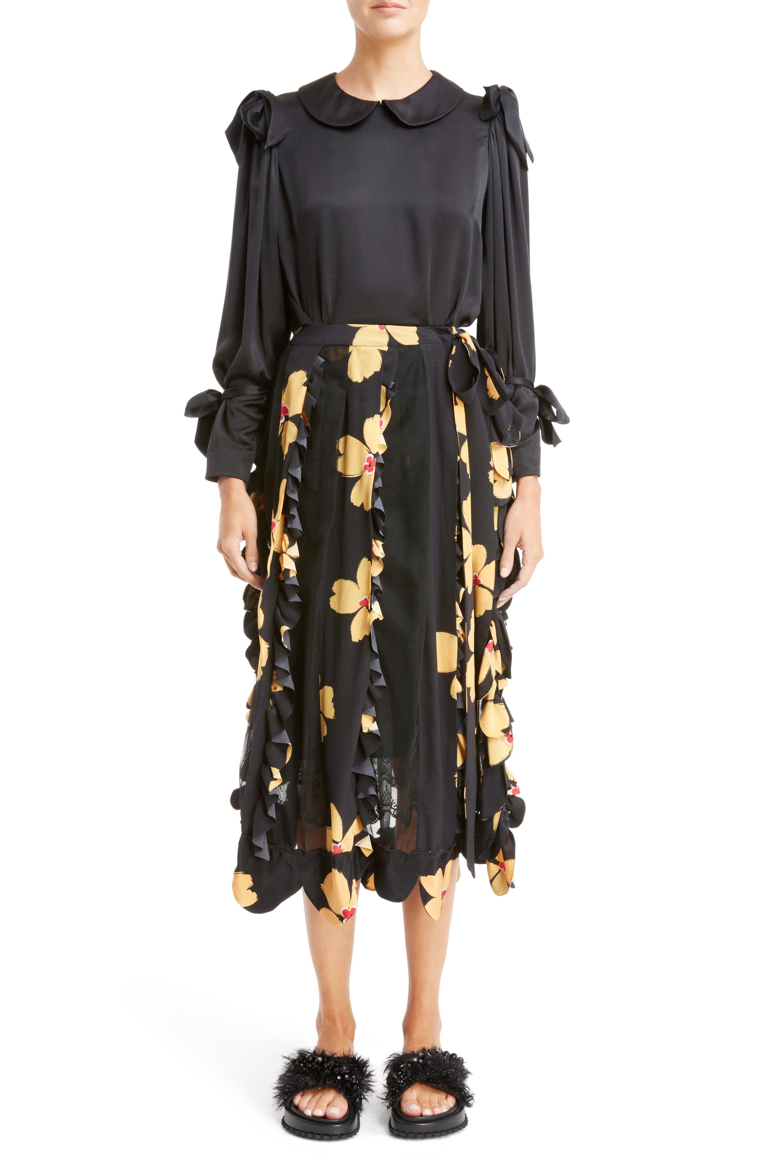 Alternate Image 7  - Simone Rocha Turbo Pleat Floral Silk Wrap Skirt