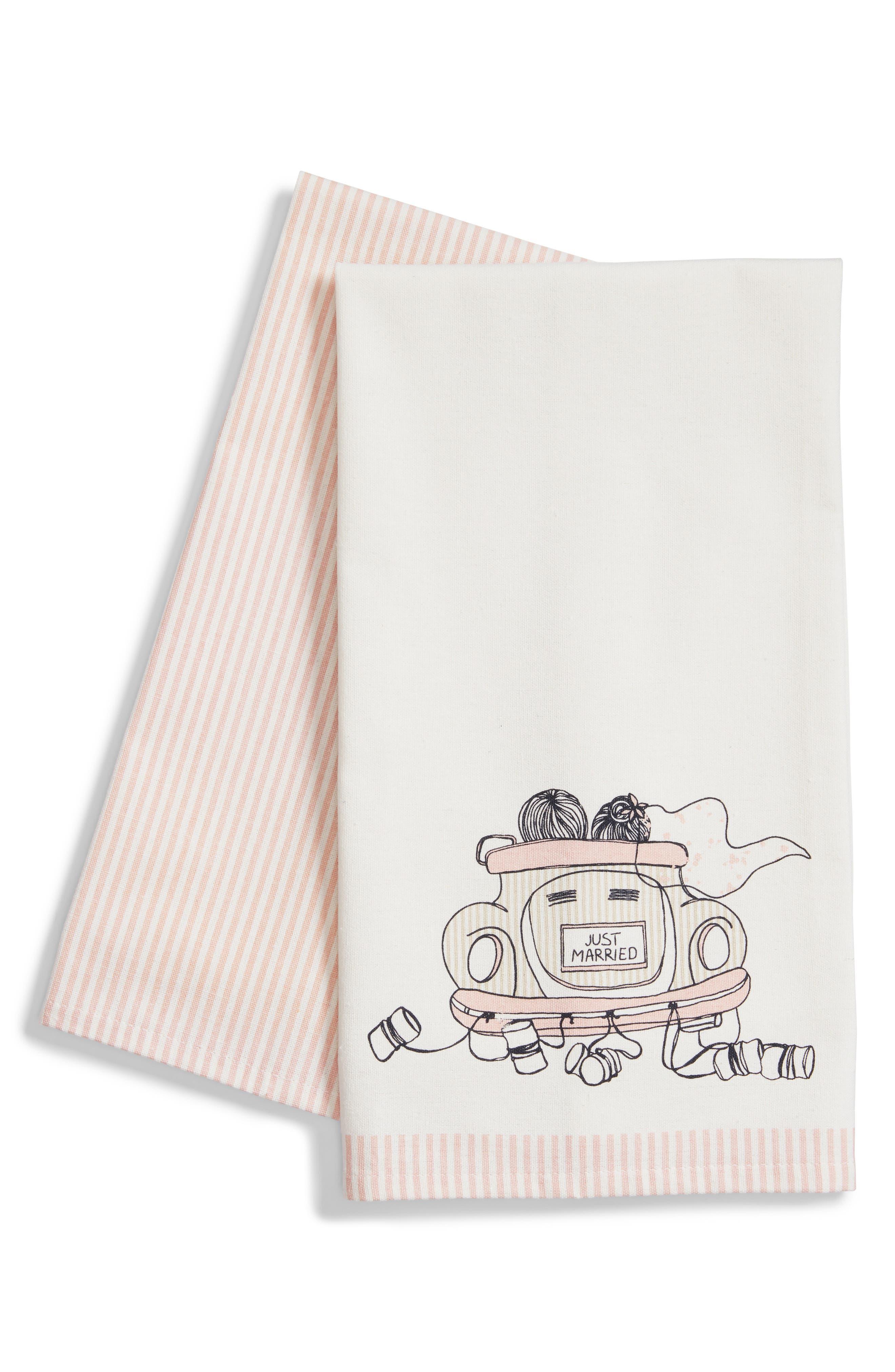 Wedding Car Set of 2 Dishtowels,                             Main thumbnail 1, color,                             Blush