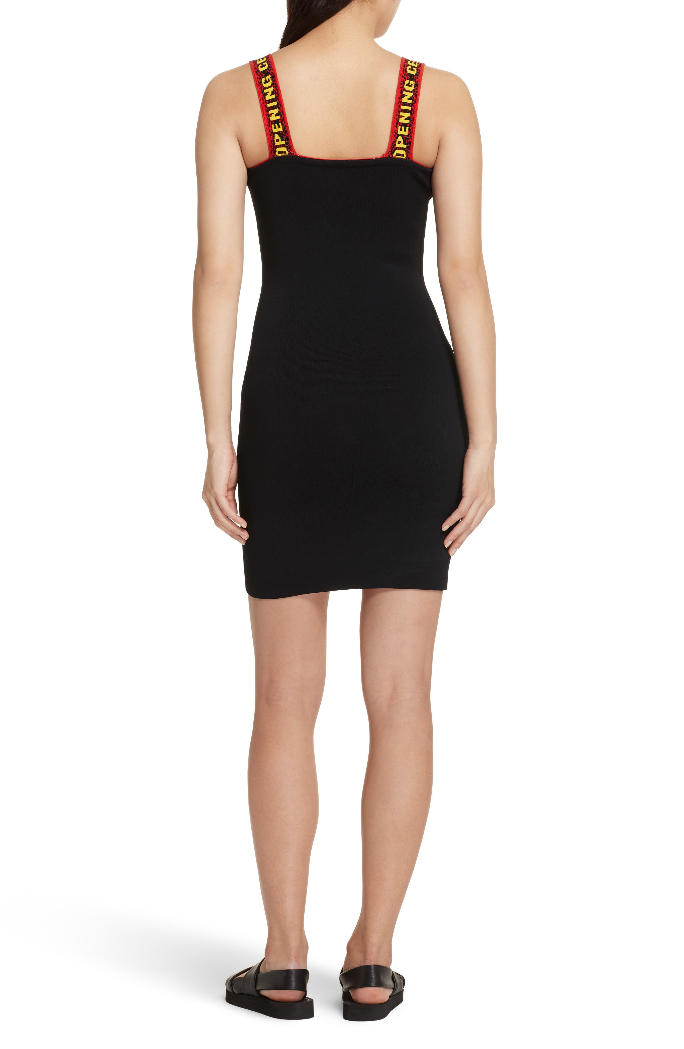 Logo Tape Ribbed Body-Con Dress,                             Alternate thumbnail 3, color,                             Black