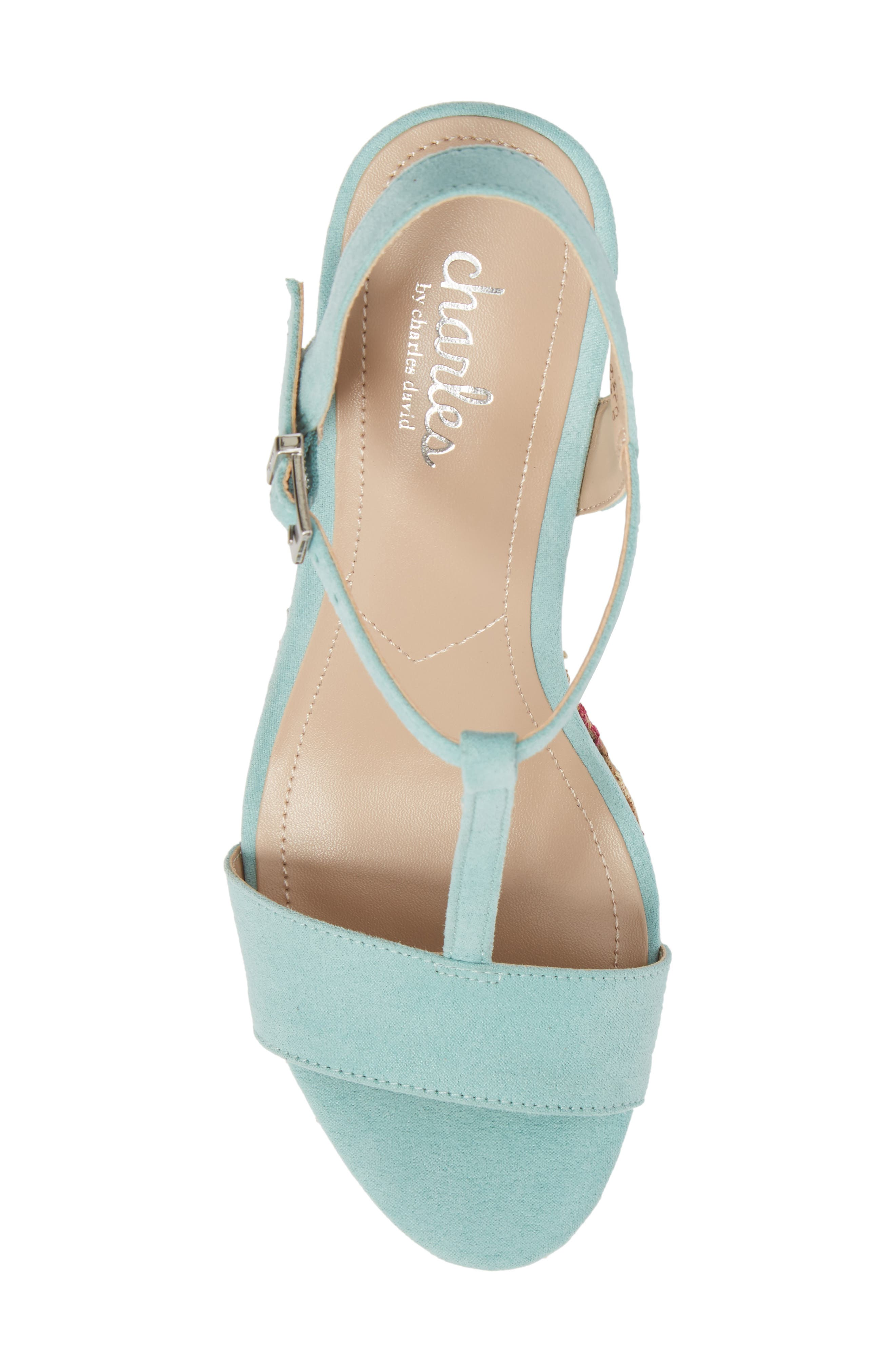 Laney Embroidered Wedge Sandal,                             Alternate thumbnail 5, color,                             Mint Green Suede