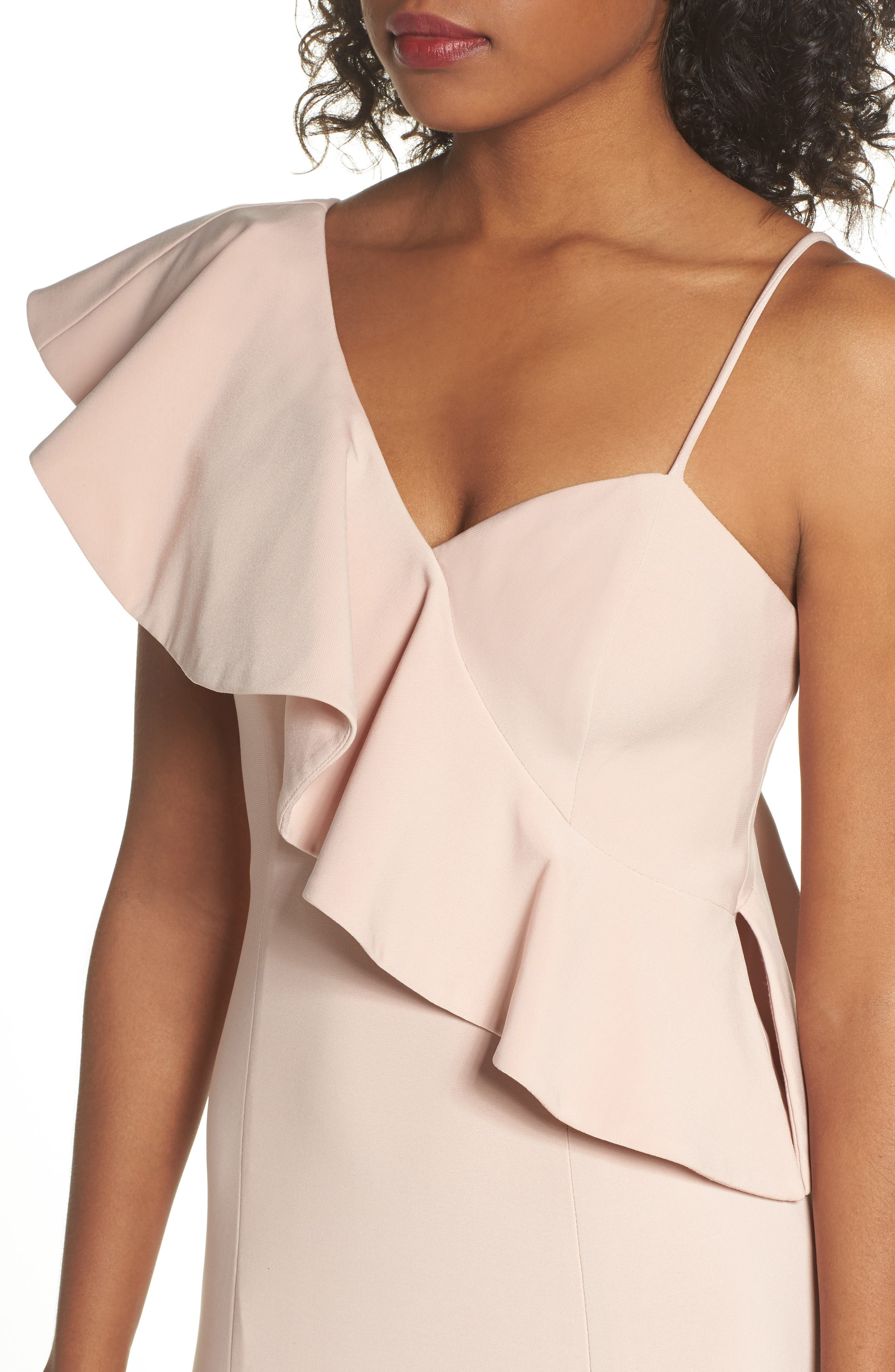 Ruffle Knit One-Shoulder Gown,                             Alternate thumbnail 4, color,                             Blush