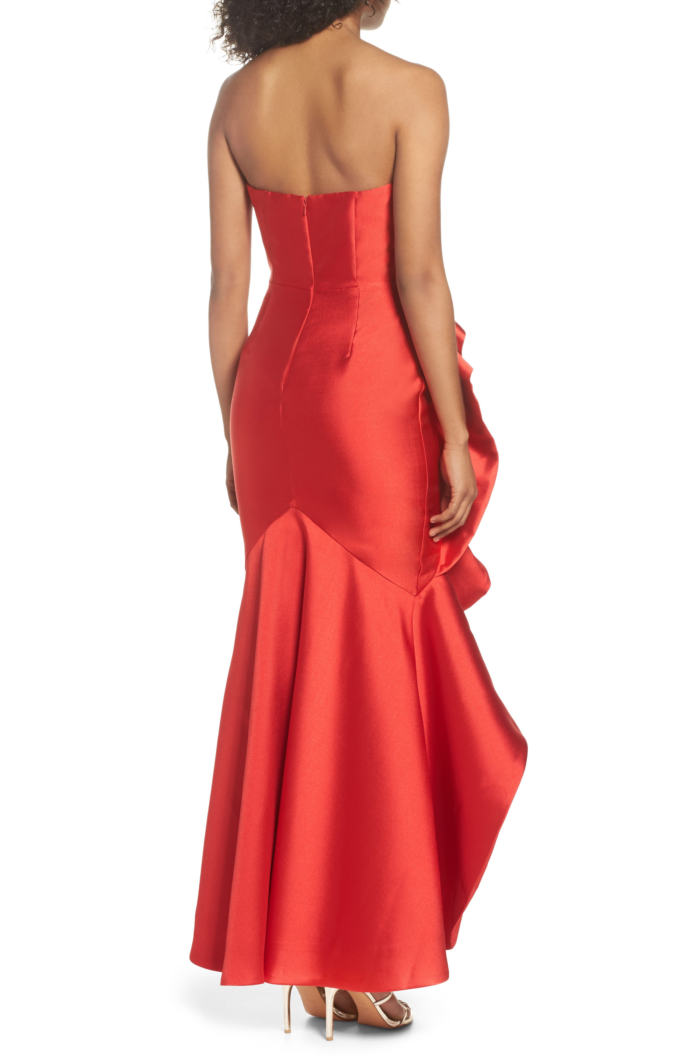 Sellers High/Low Mermaid Gown,                             Alternate thumbnail 2, color,                             Red