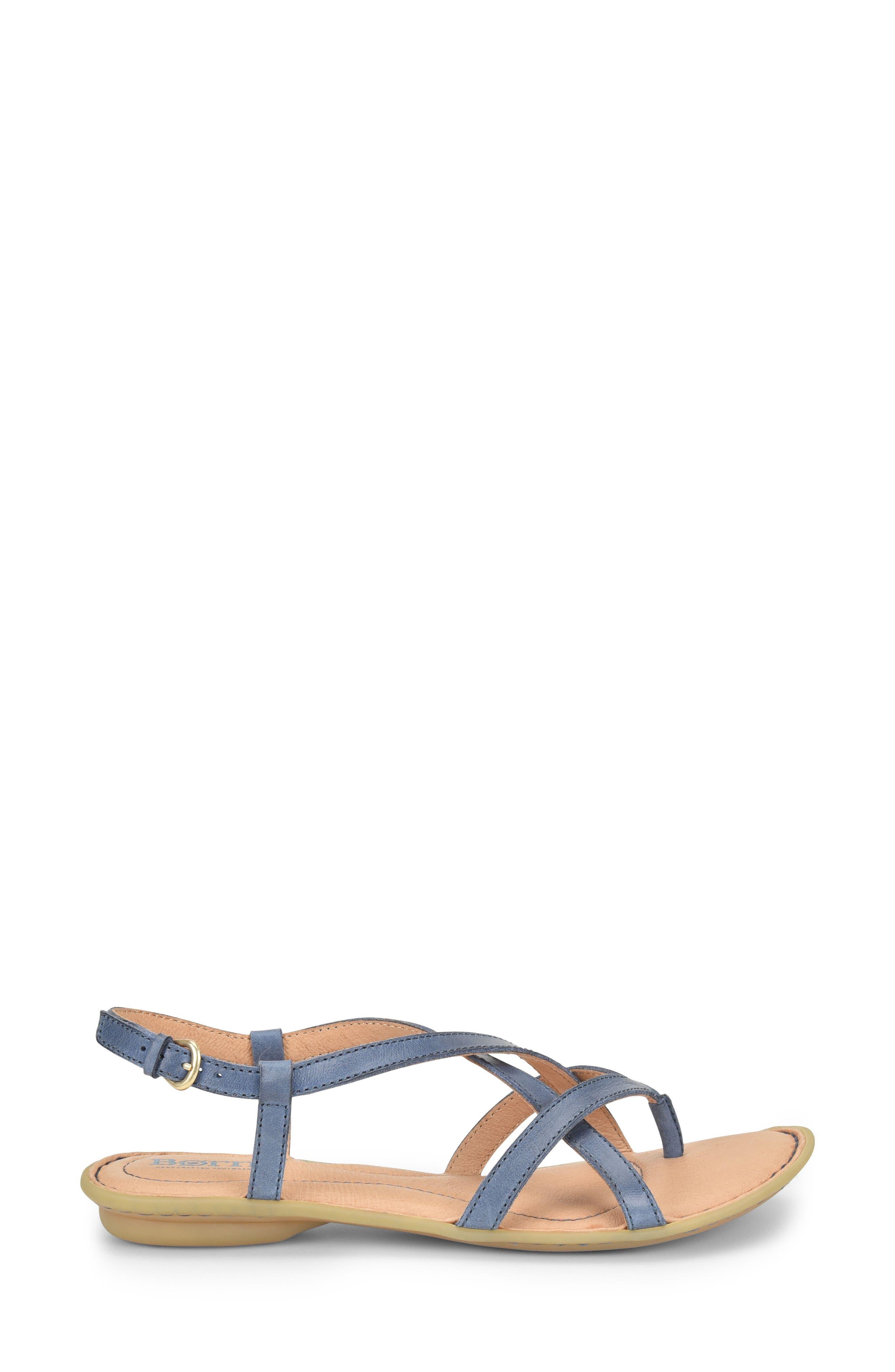 Mai Strap Sandal,                             Alternate thumbnail 3, color,                             Navy Leather