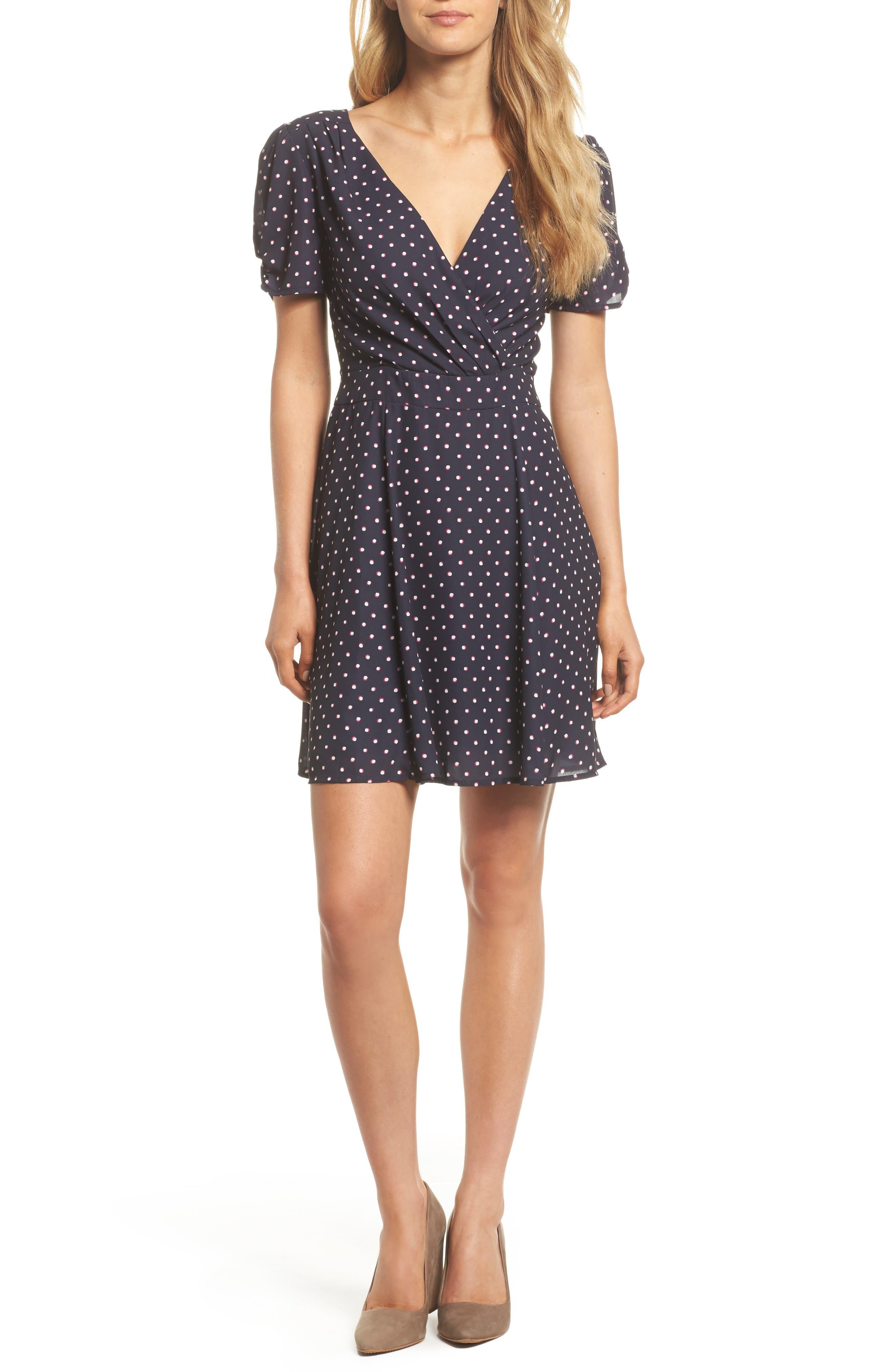 Vera Fit & Flare Dress,                             Main thumbnail 1, color,                             Navy/ Fuchsia