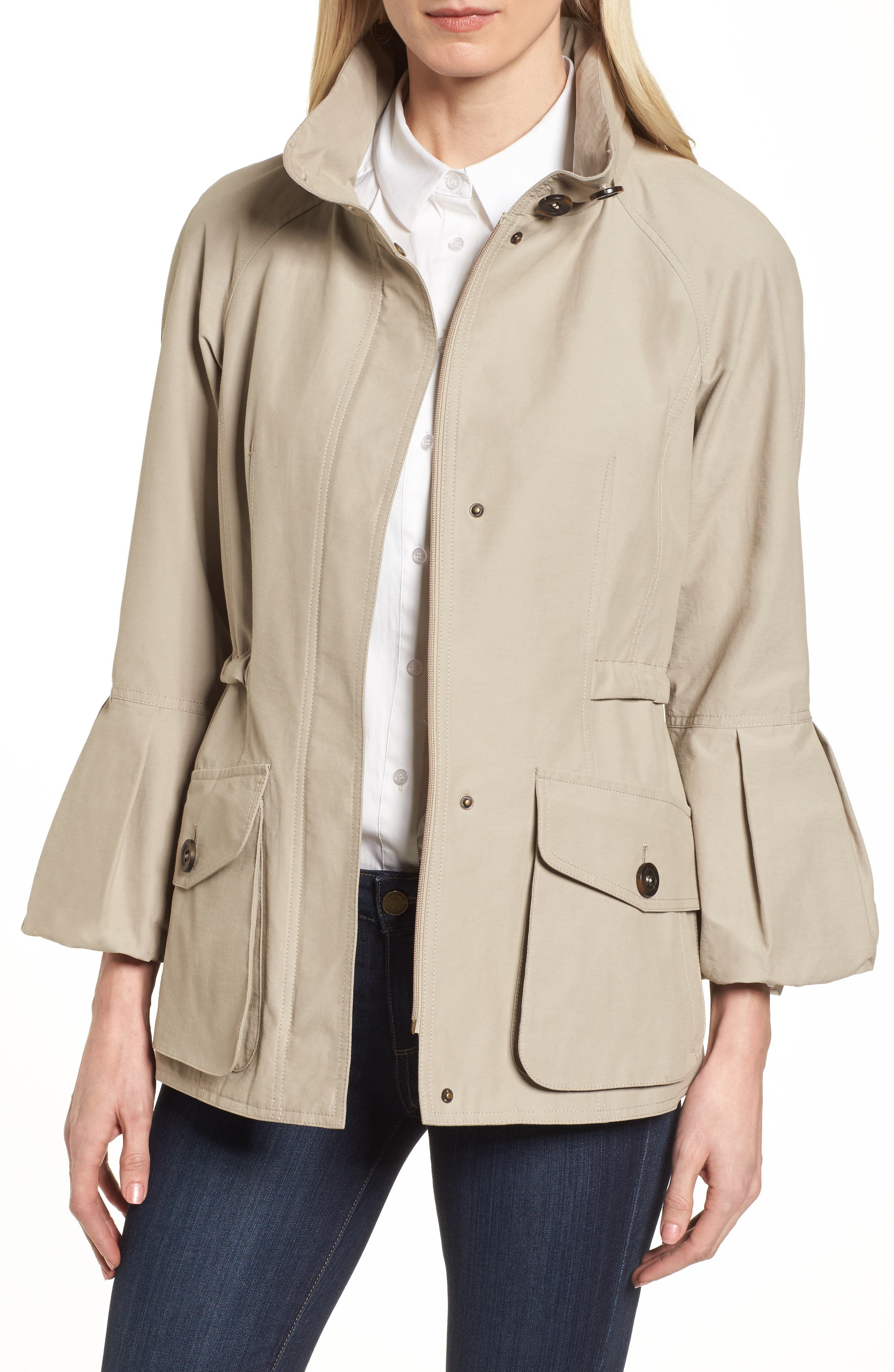Bell Sleeve Jacket with Stowaway Hood,                             Main thumbnail 1, color,                             Sesame