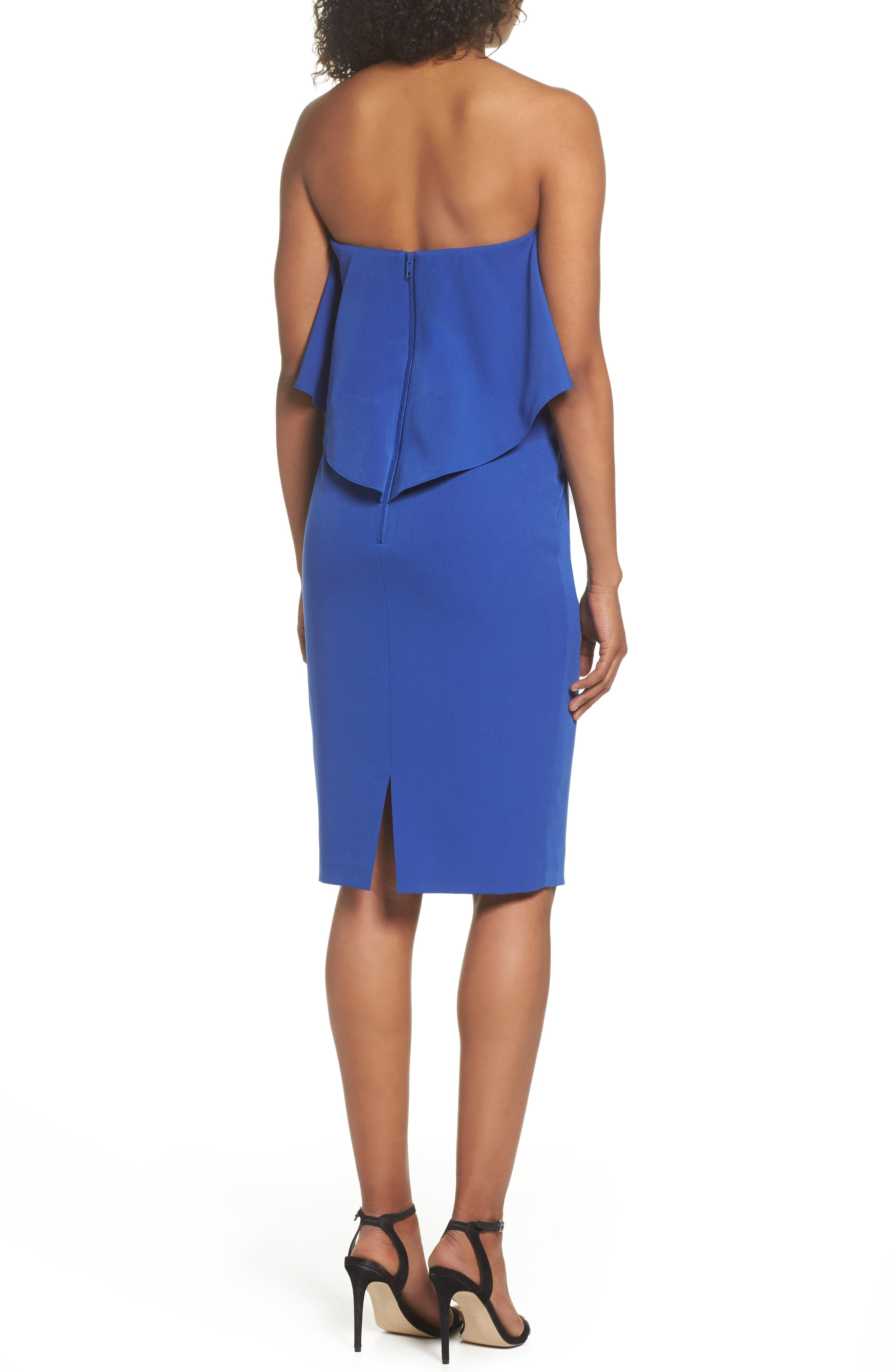 Ruffle Stretch Crepe Sheath Dress,                             Alternate thumbnail 2, color,                             Blue Surf