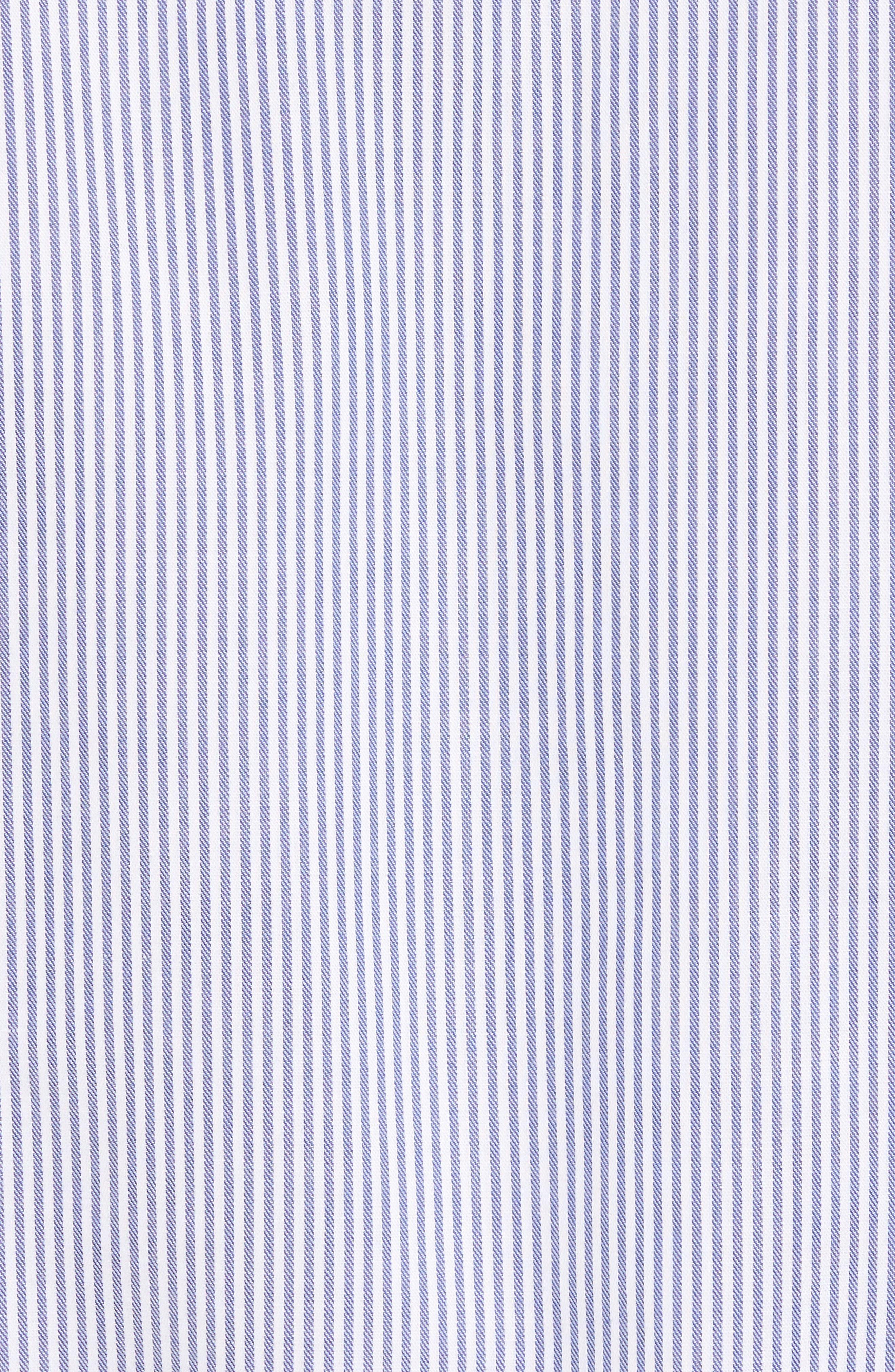 Tech-Smart Regular Fit Stripe Sport Shirt,                             Alternate thumbnail 5, color,                             Navy Iris White Stripe