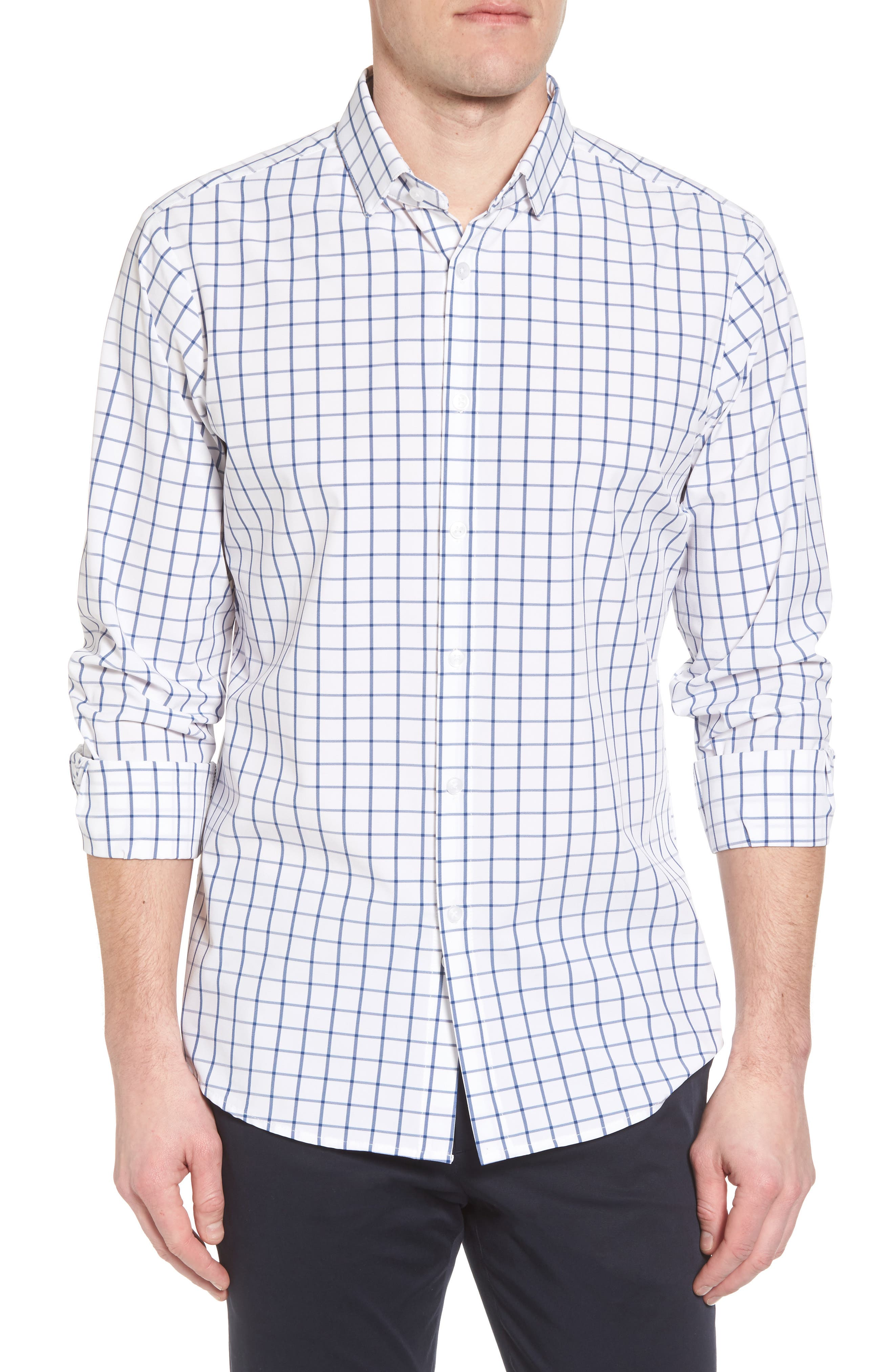 Bowie Windowpane Performance Sport Shirt,                         Main,                         color, Navy