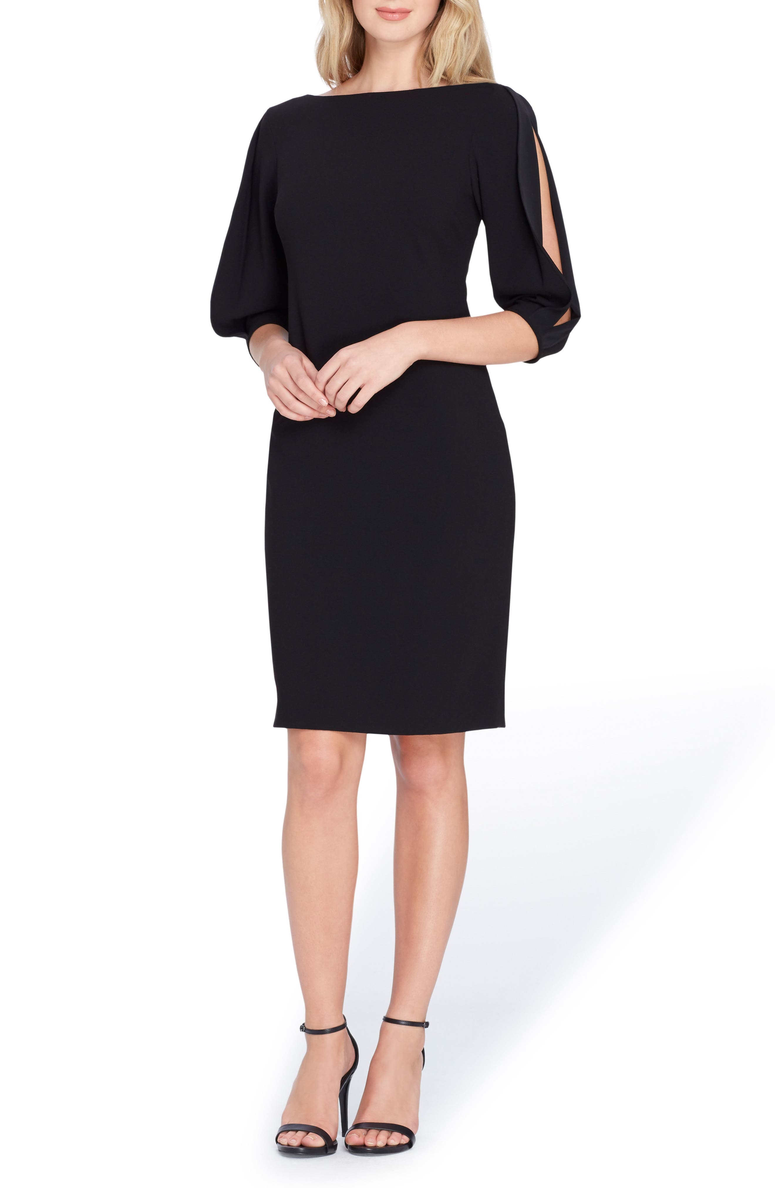 Split Sleeve Midi Sheath Dress,                         Main,                         color, Black