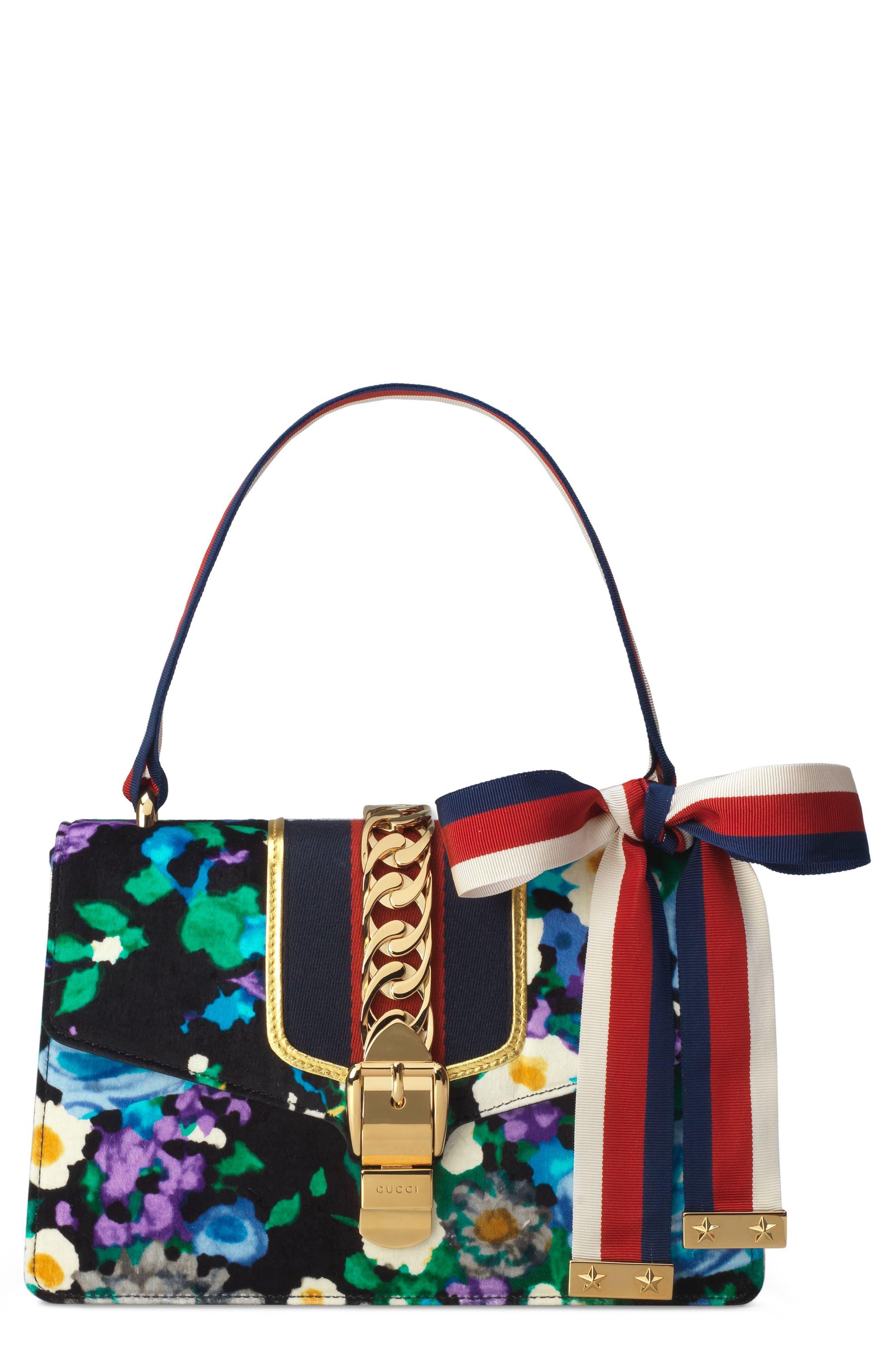 Small Floral Print Leather Shoulder Bag,                             Main thumbnail 1, color,                             Black/ Blue Red Blue
