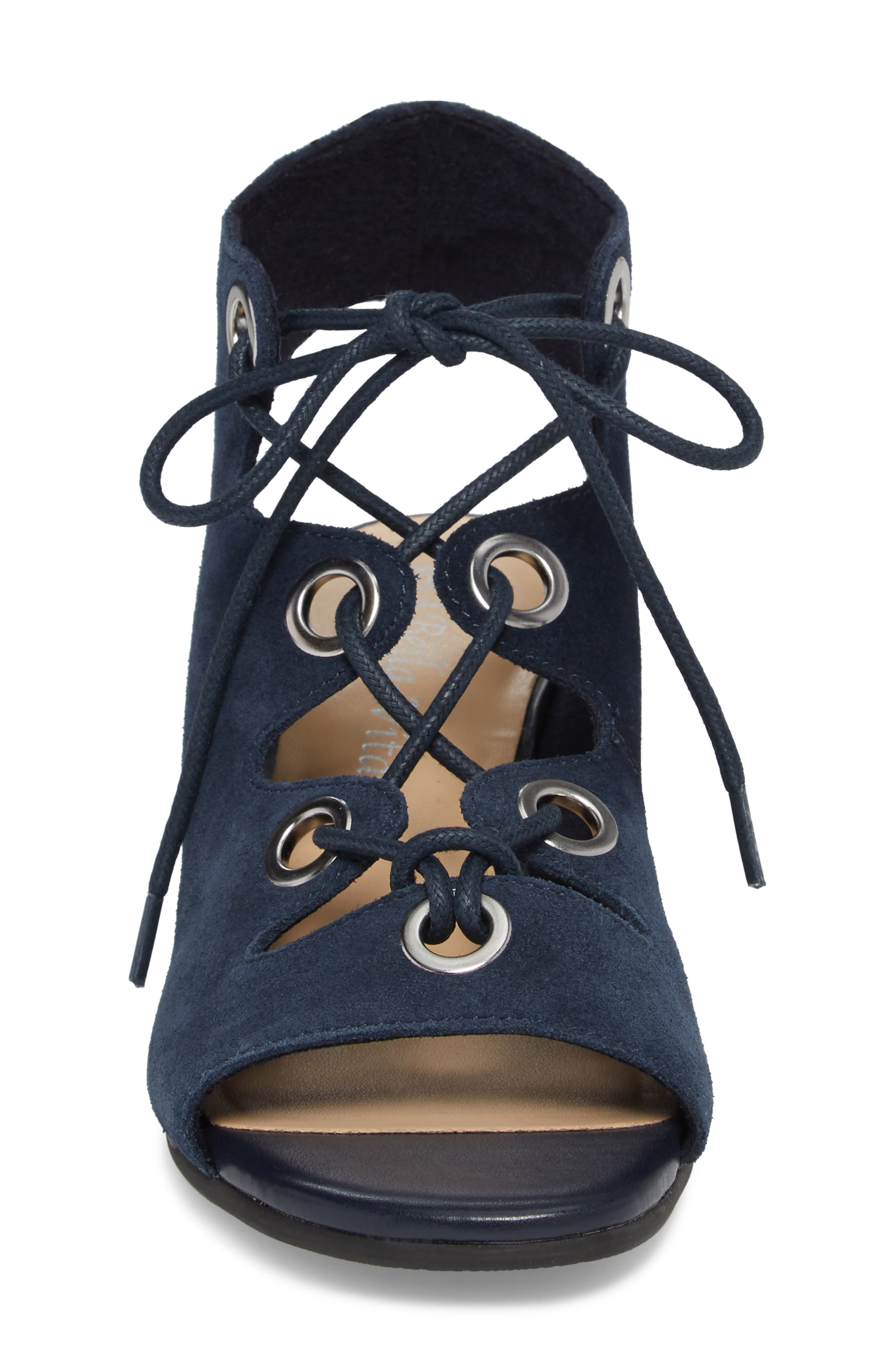 Ingrid Lace-Up Sandal,                             Alternate thumbnail 4, color,                             Navy Suede