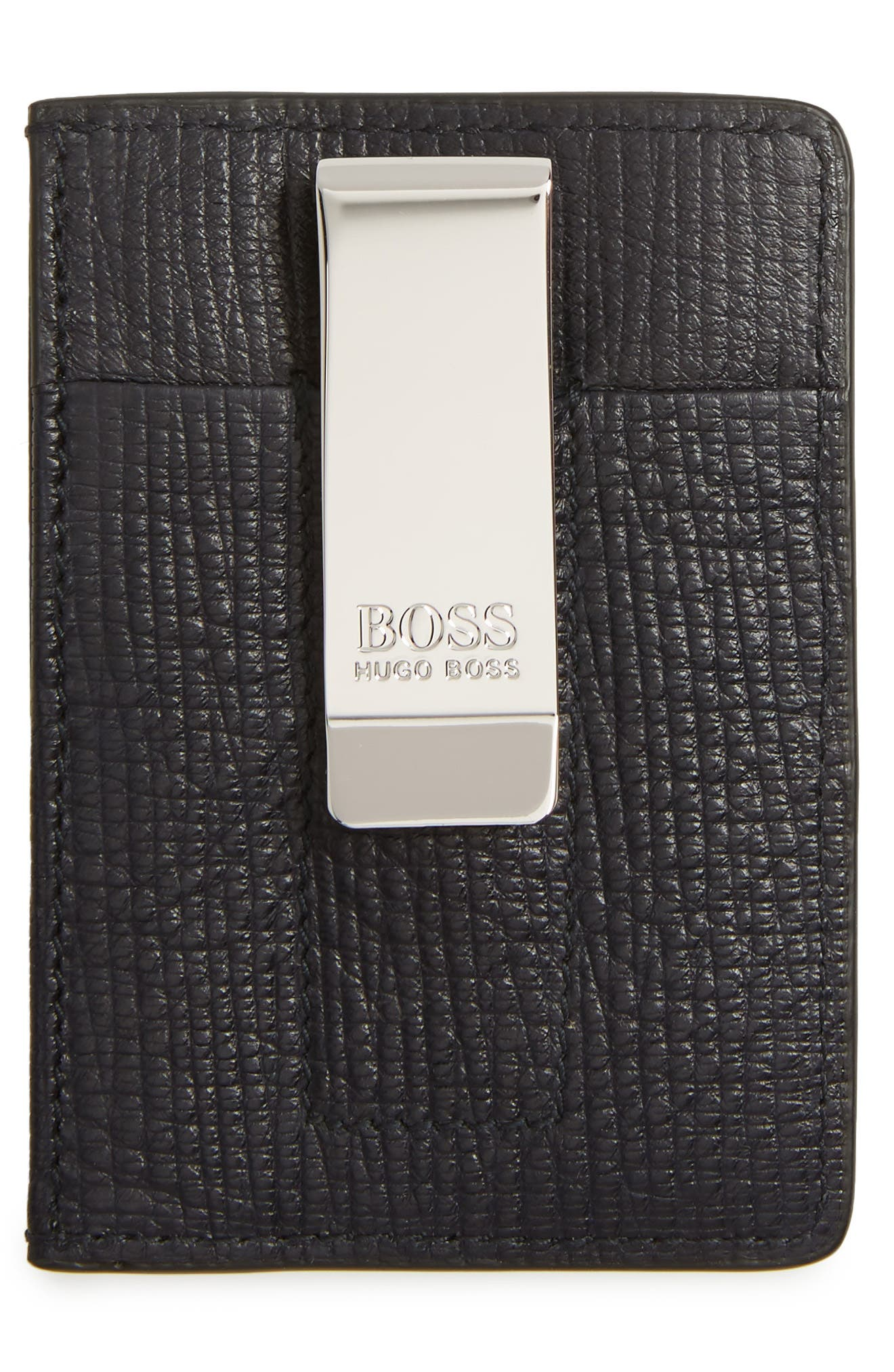 Timeless Leather Money Clip Card Case,                             Alternate thumbnail 2, color,                             Navy