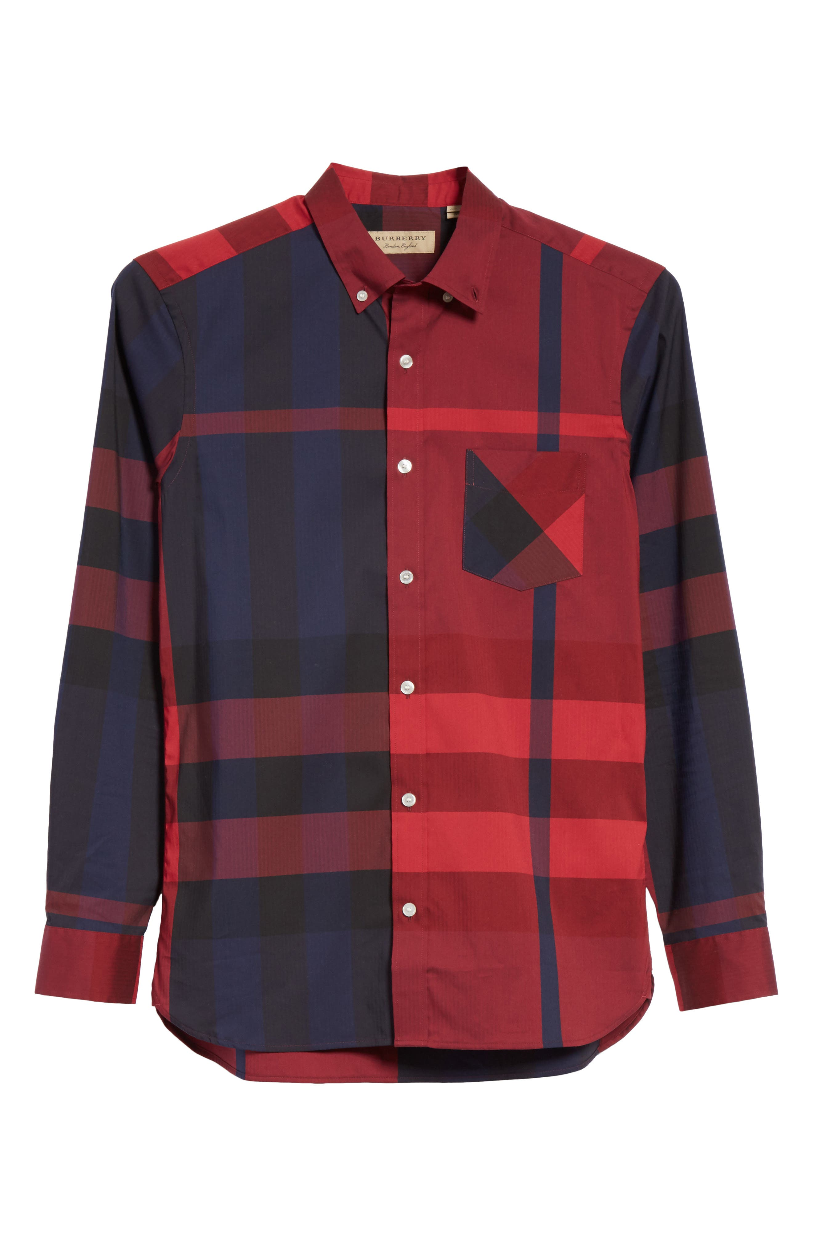 Thornaby Regular Fit Plaid Sport Shirt,                             Alternate thumbnail 6, color,                             Bright Red