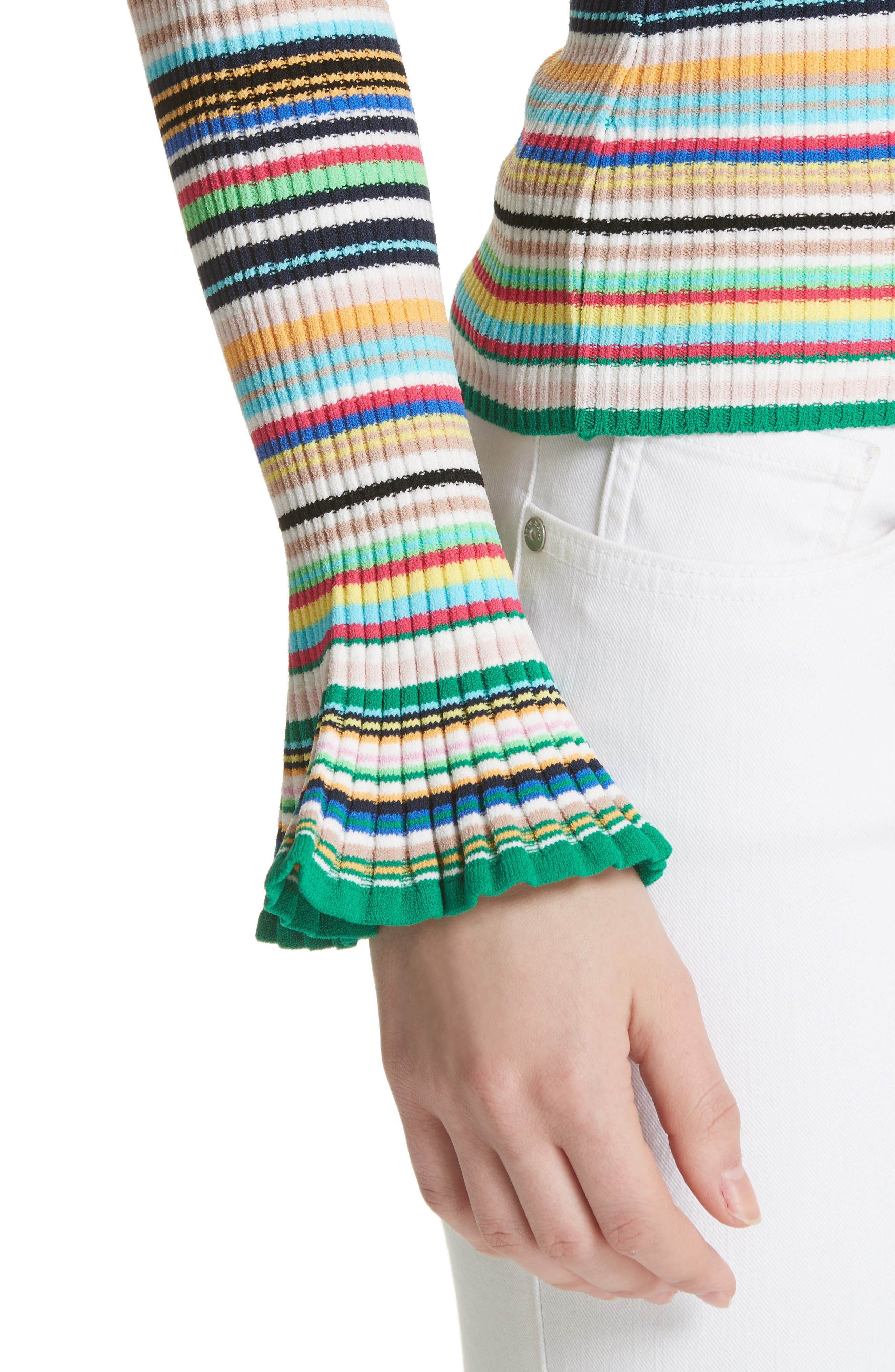 Microstripe Flare Sleeve Pullover,                             Alternate thumbnail 4, color,                             Rainbow Multi
