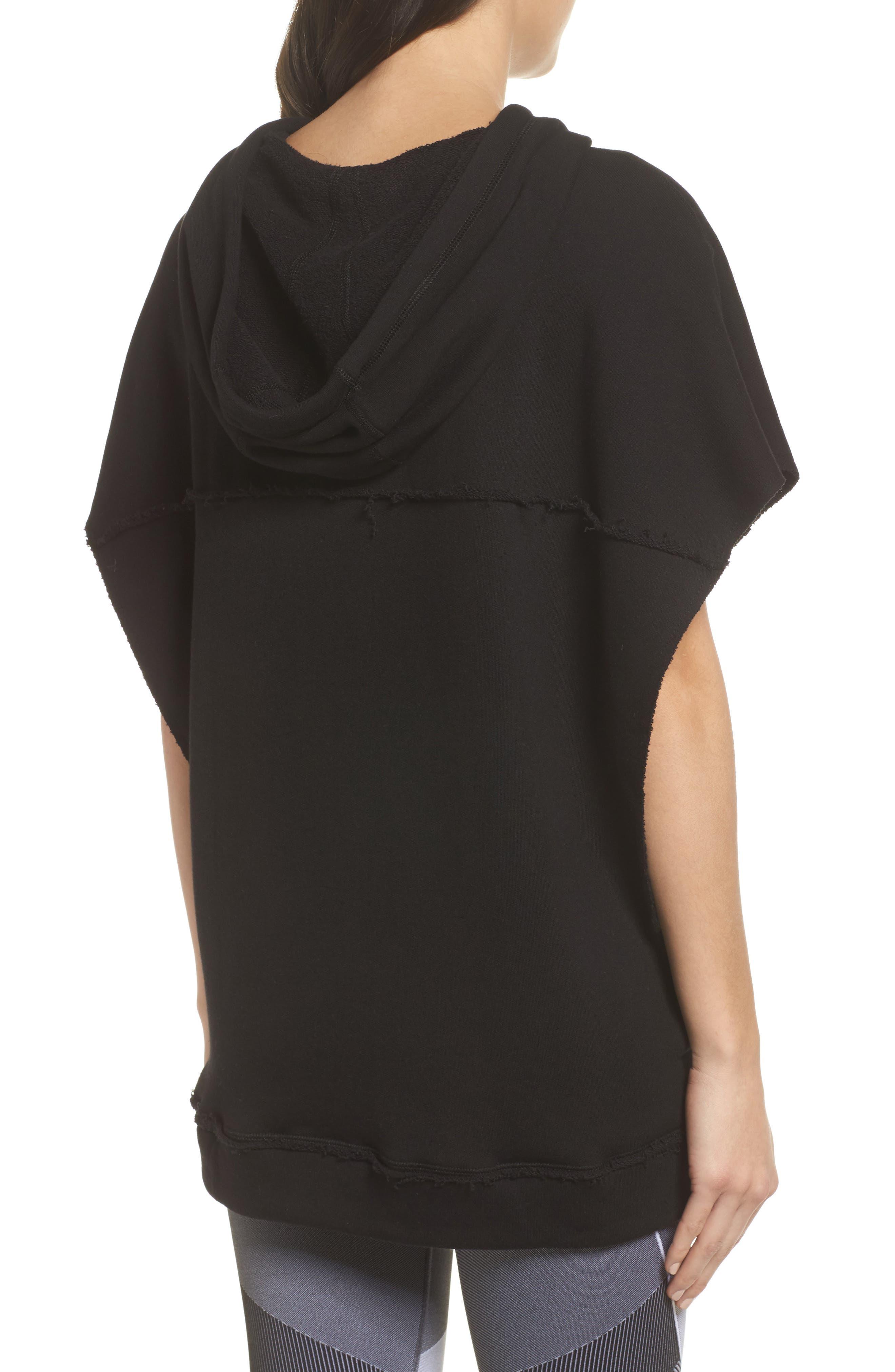 Split Hooded Poncho,                             Alternate thumbnail 2, color,                             Black
