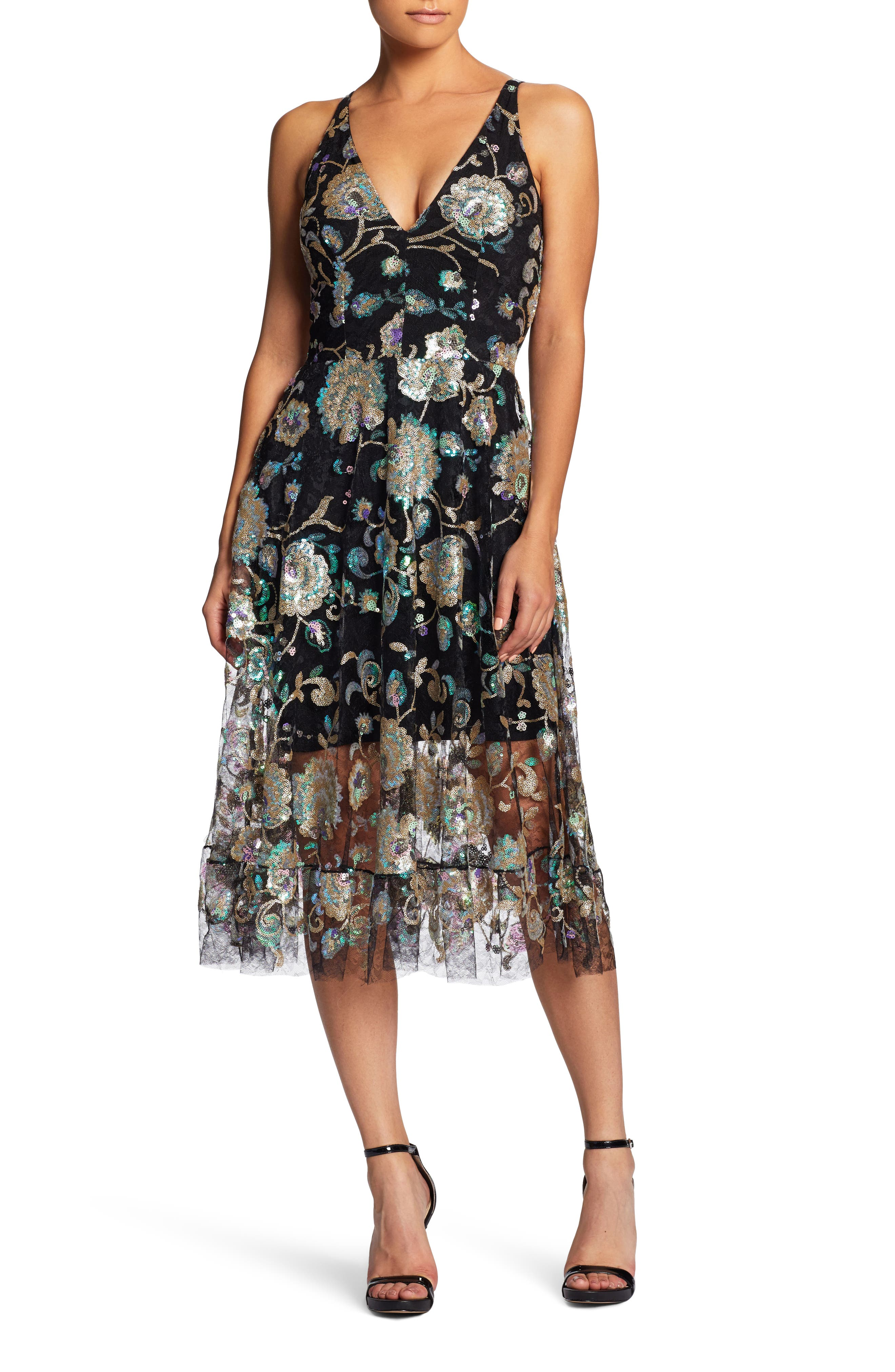 Audrey Sequin Embroidered Midi Dress,                             Main thumbnail 1, color,                             Black/ Iridescent Floral