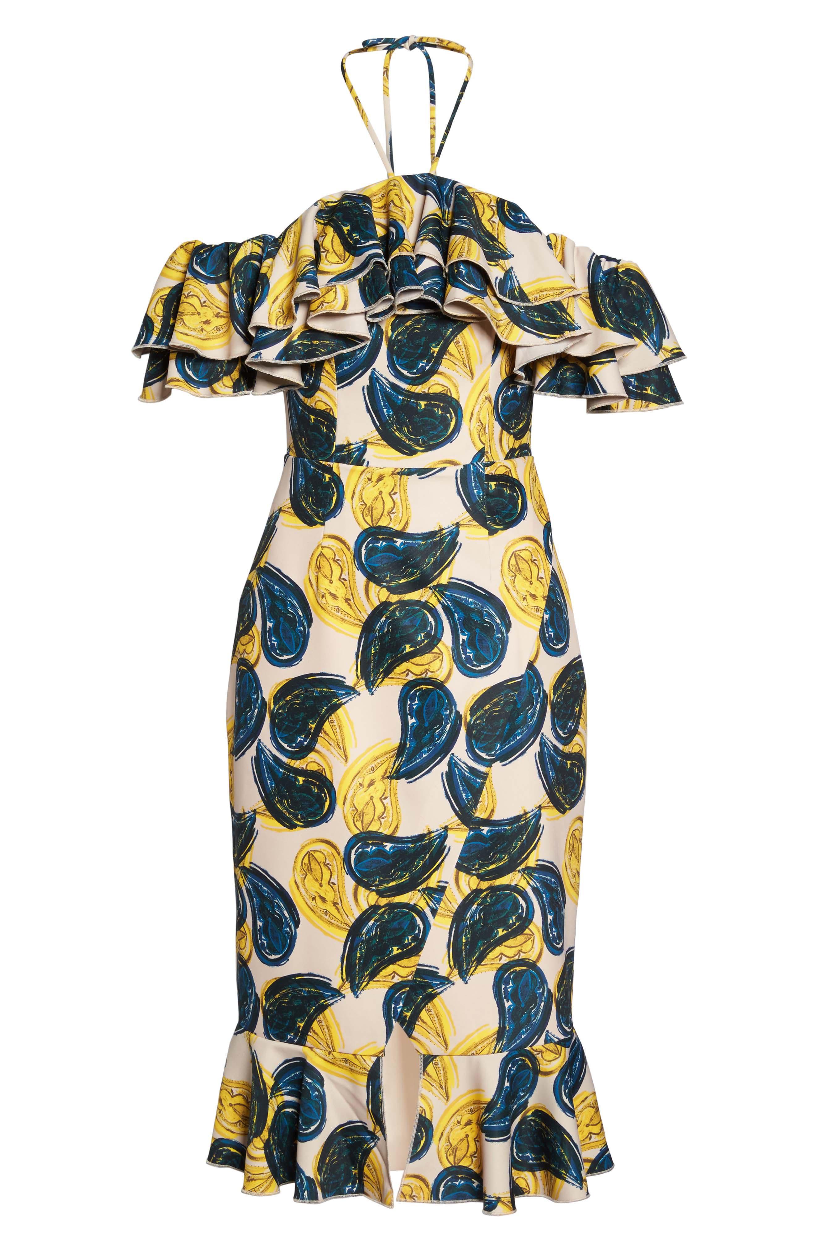 Temptation Halter Sheath Dress,                             Alternate thumbnail 7, color,                             Blush Paisley
