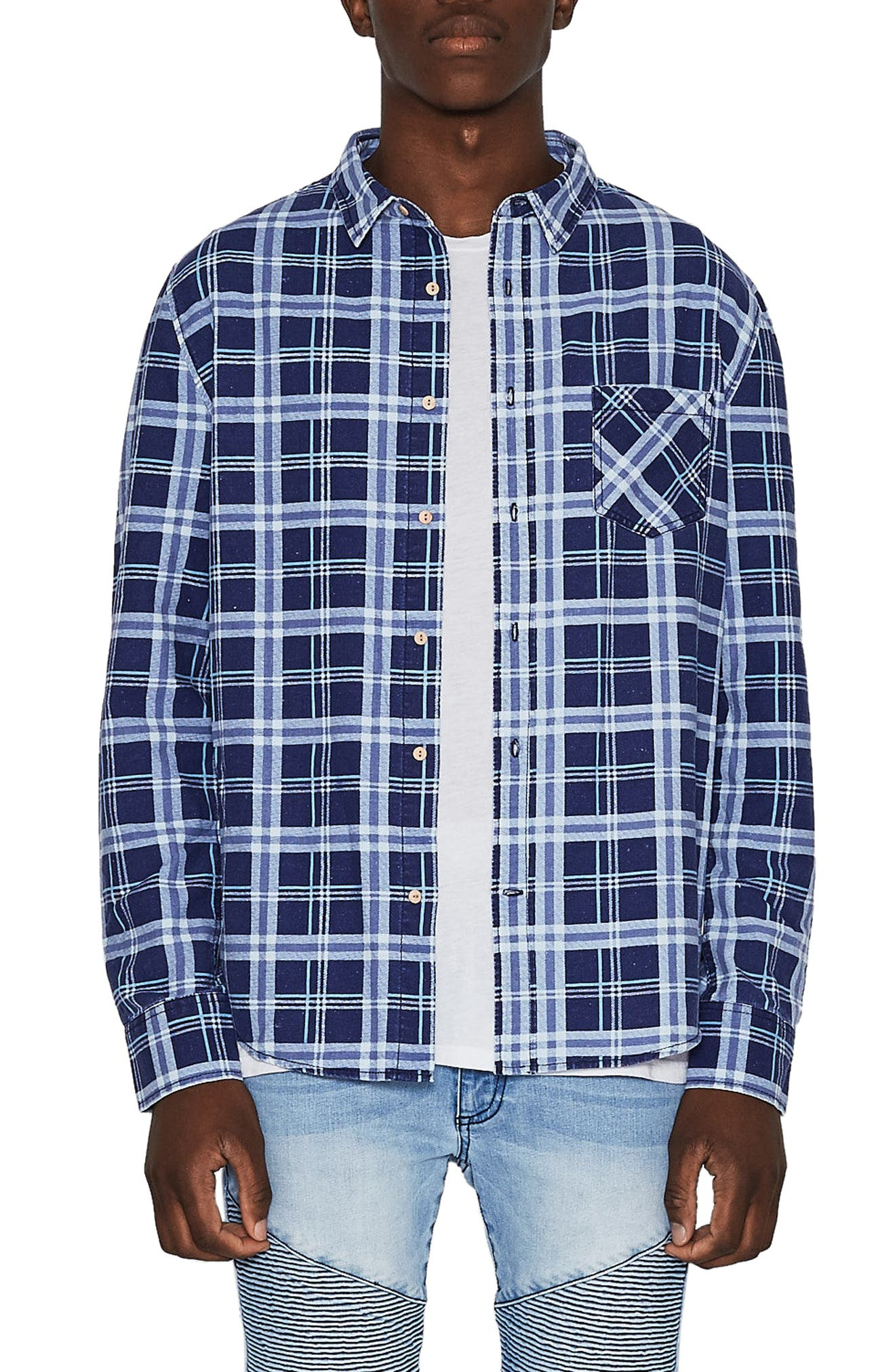 Issued Trim Fit Woven Shirt,                             Main thumbnail 1, color,                             Blue Check