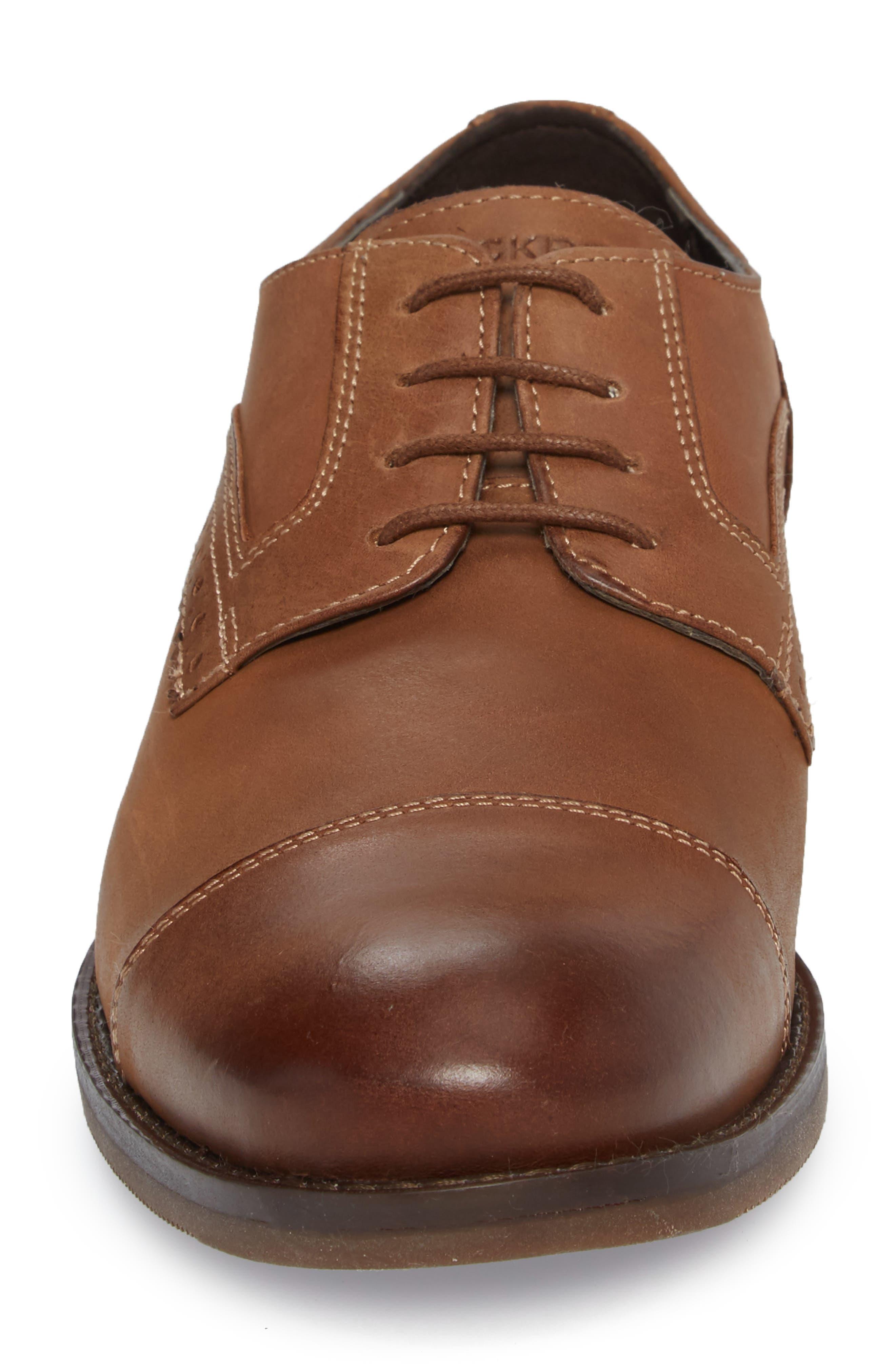Wynston Cap Toe Blucher,                             Alternate thumbnail 4, color,                             Tobacco Leather