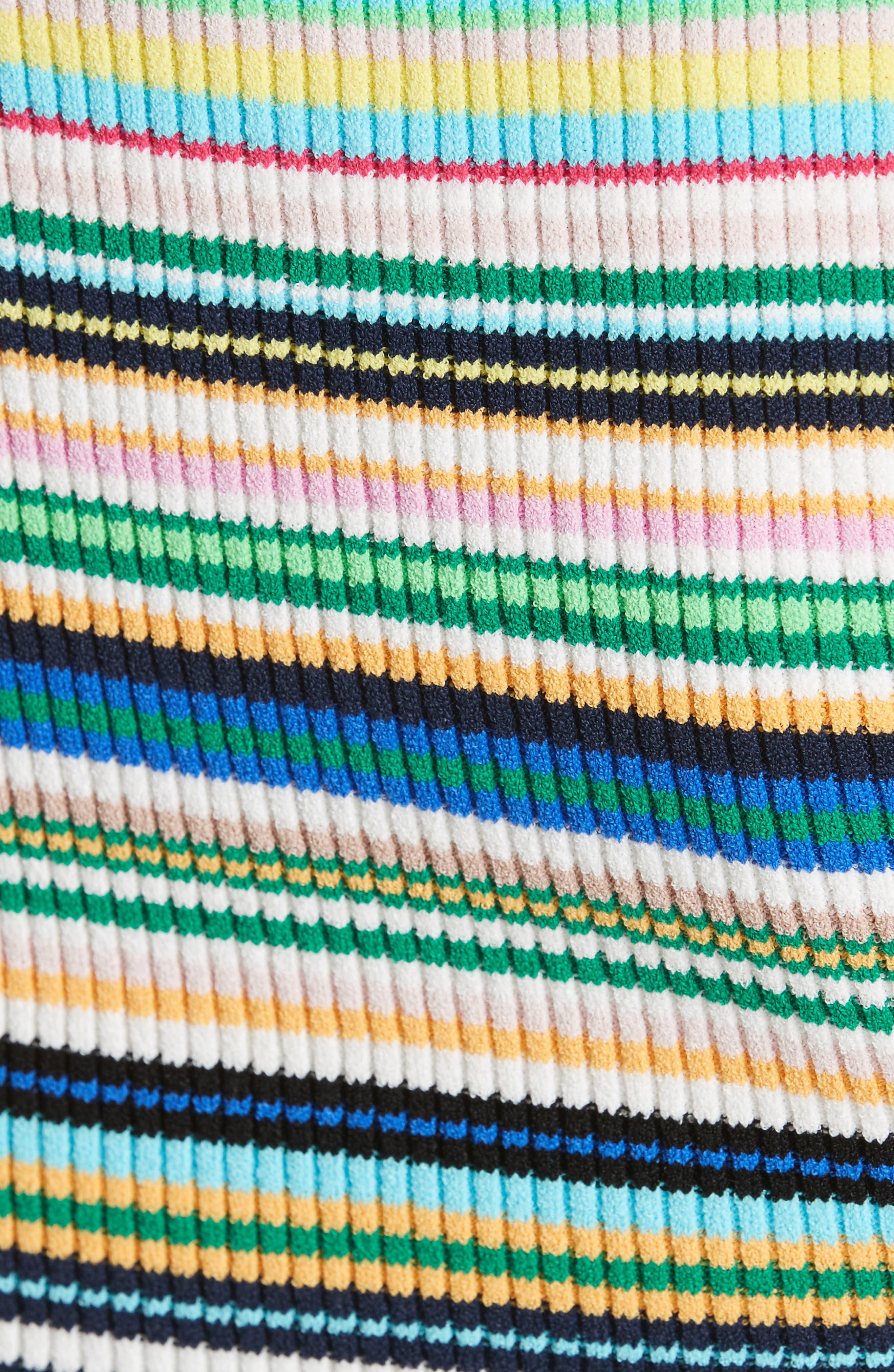Microstripe Knit Fit & Flare Dress,                             Alternate thumbnail 5, color,                             Rainbow Multi