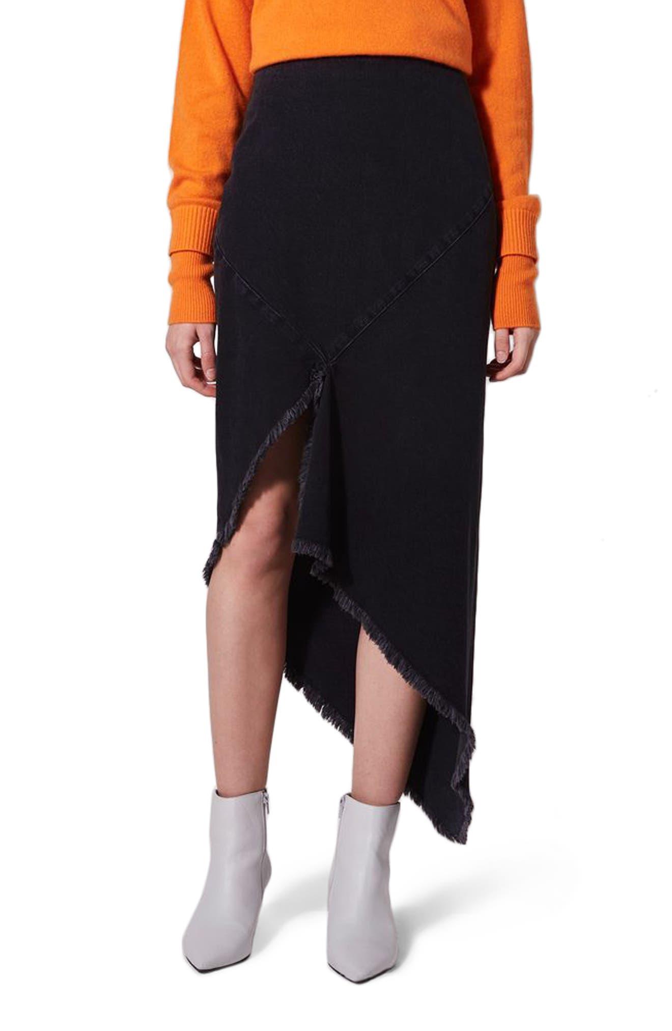 Topshop Boutique Spiral Seam Black Denim Skirt