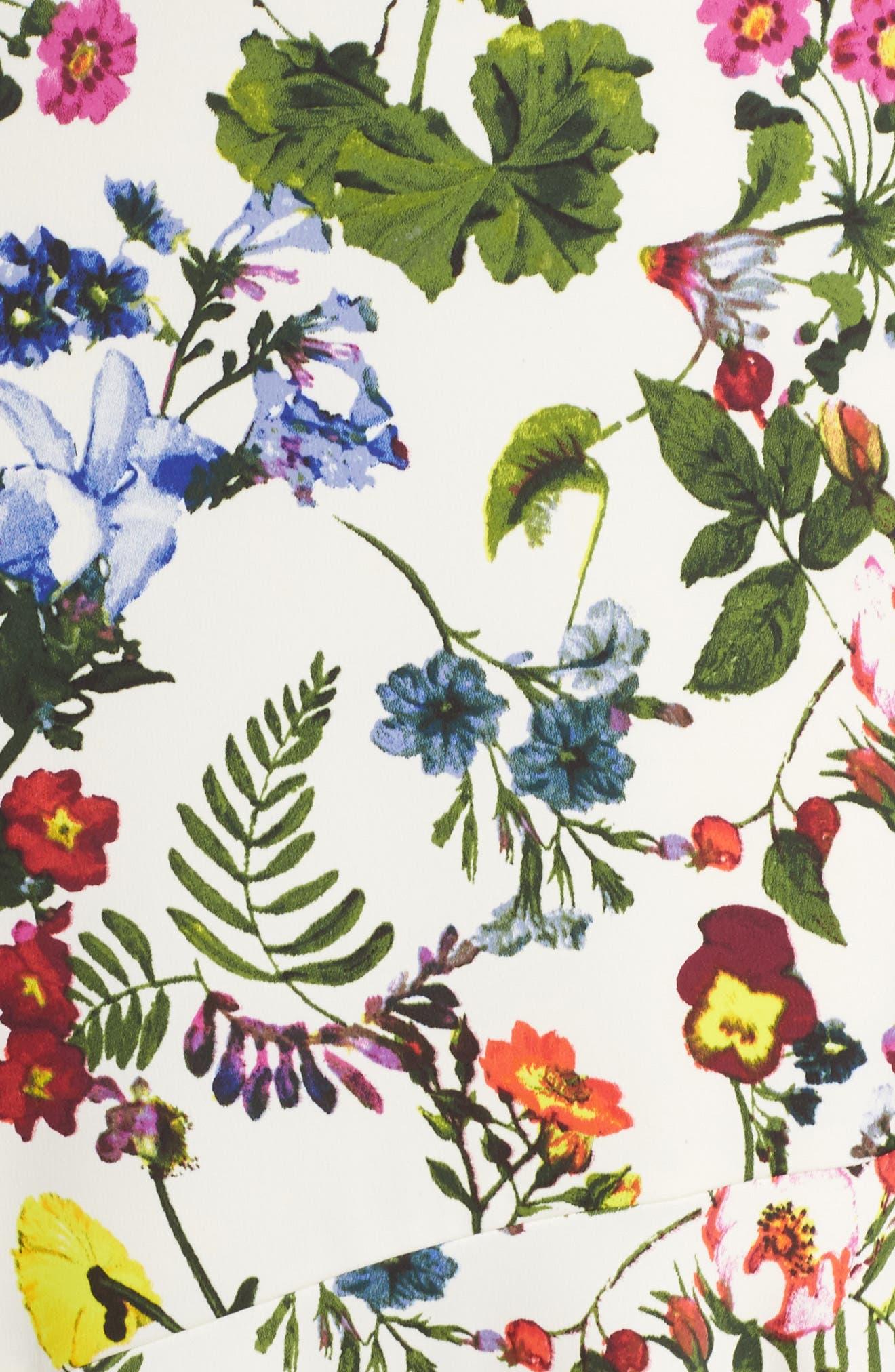 Botanical Print Charmeuse Midi Dress,                             Alternate thumbnail 4, color,                             Soft White/ Multi