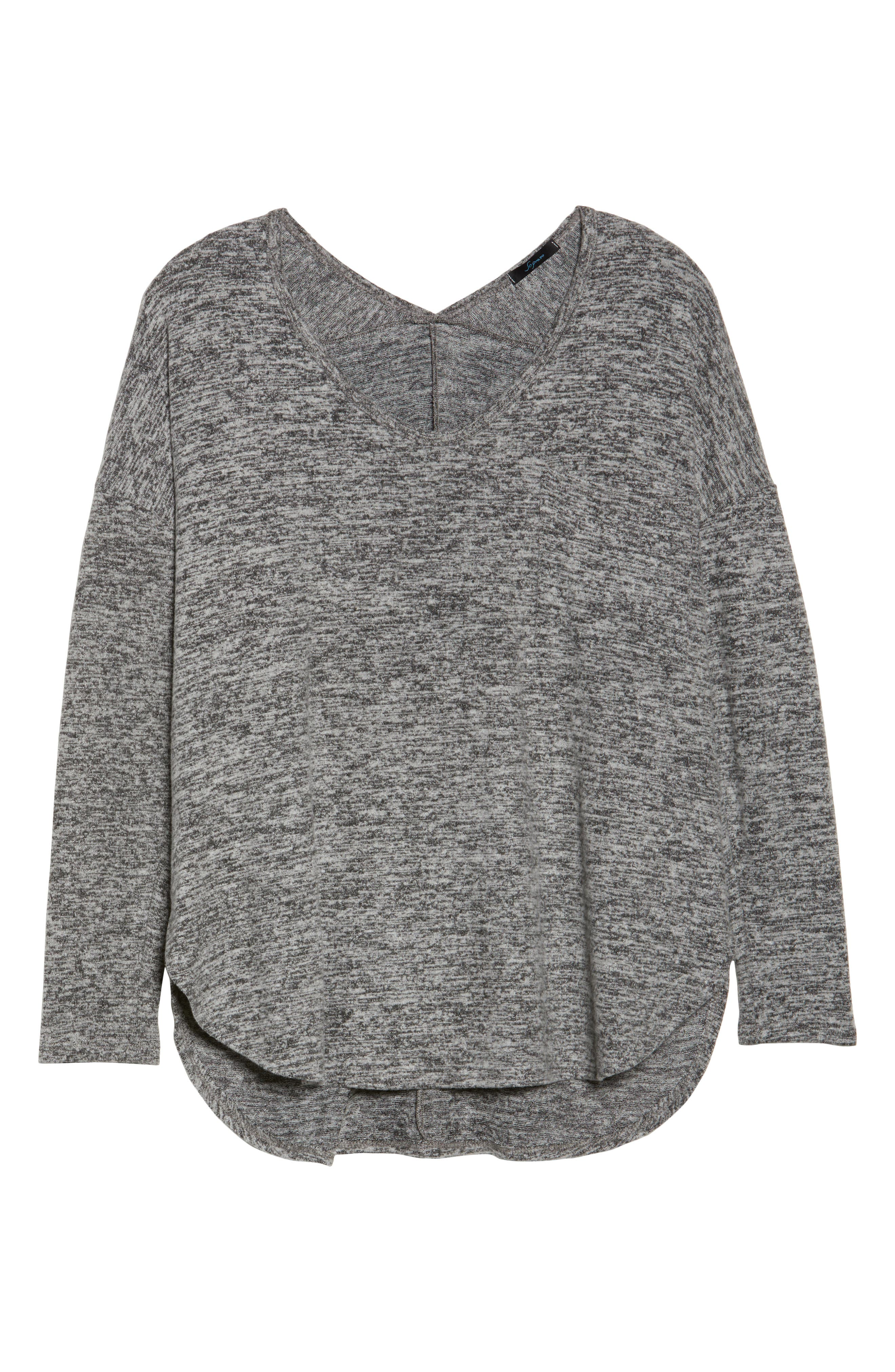 High/Low Knit Top,                             Alternate thumbnail 6, color,                             Charcoal Grey