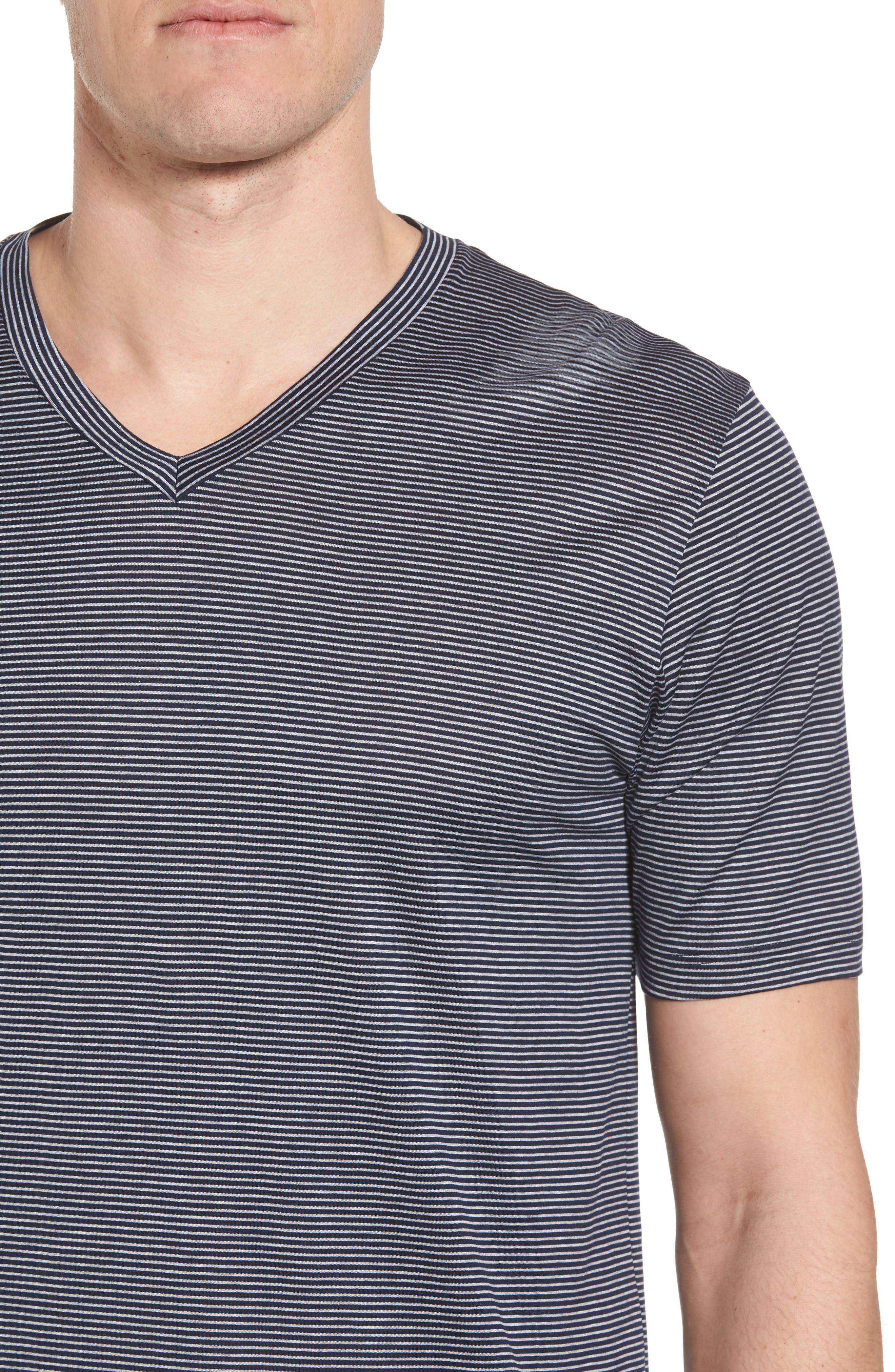 Sporty Stripe Cotton V-Neck T-Shirt,                             Alternate thumbnail 4, color,                             Marine Grey Stripe