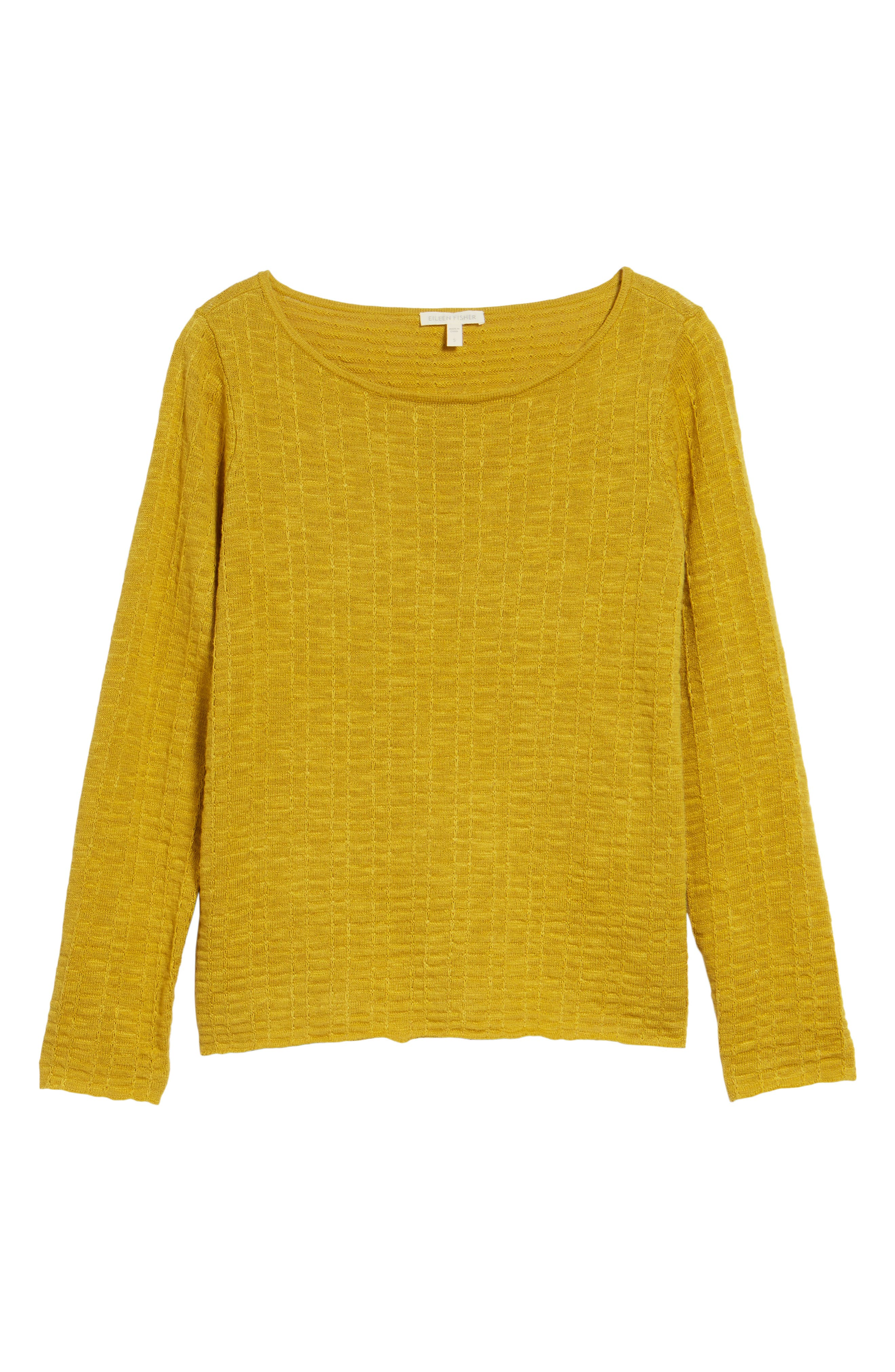 Organic Linen & Cotton Sweater,                             Alternate thumbnail 6, color,                             Mustard Seed