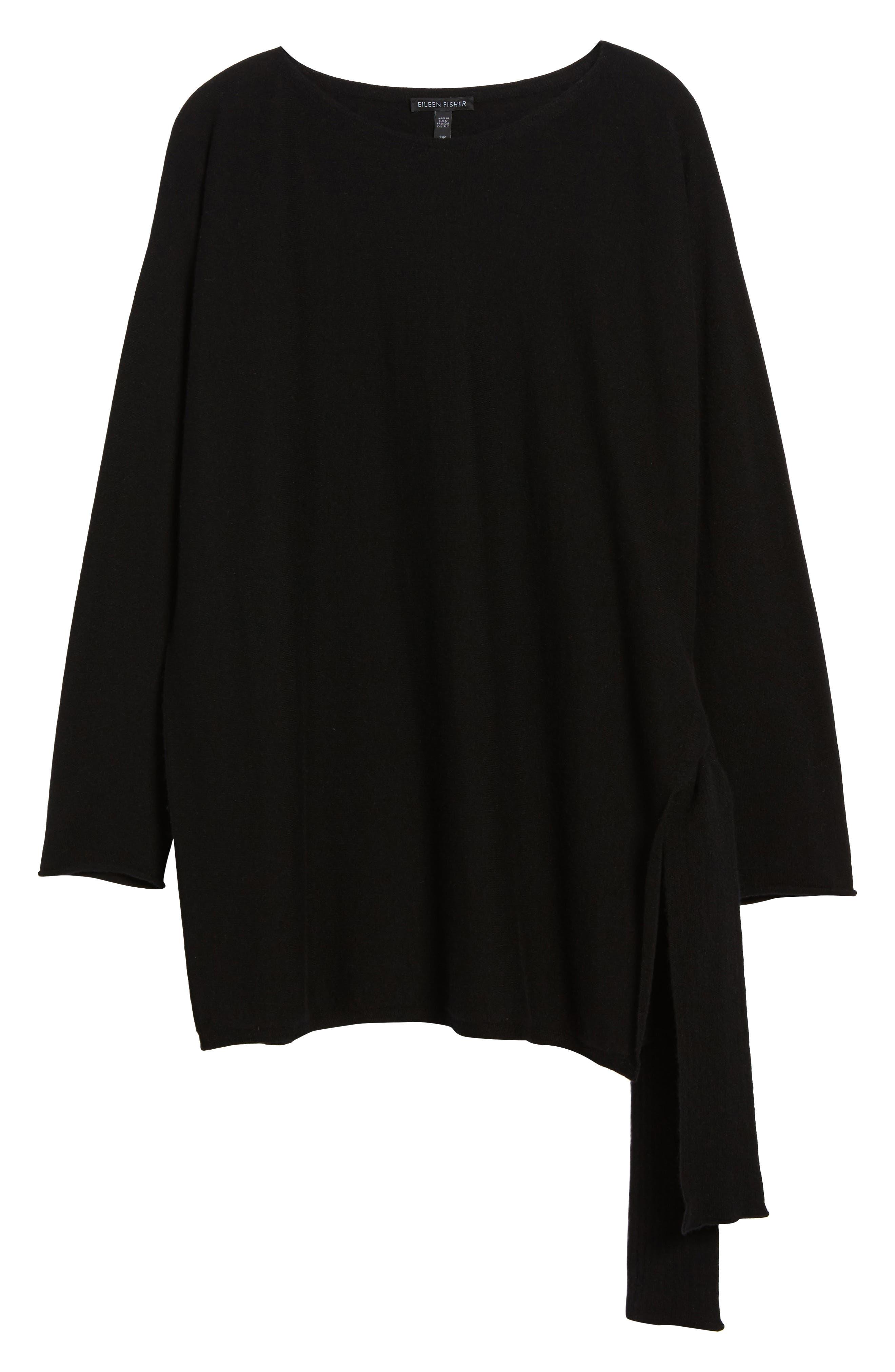 Cashmere Tunic Sweater,                             Alternate thumbnail 5, color,                             Black