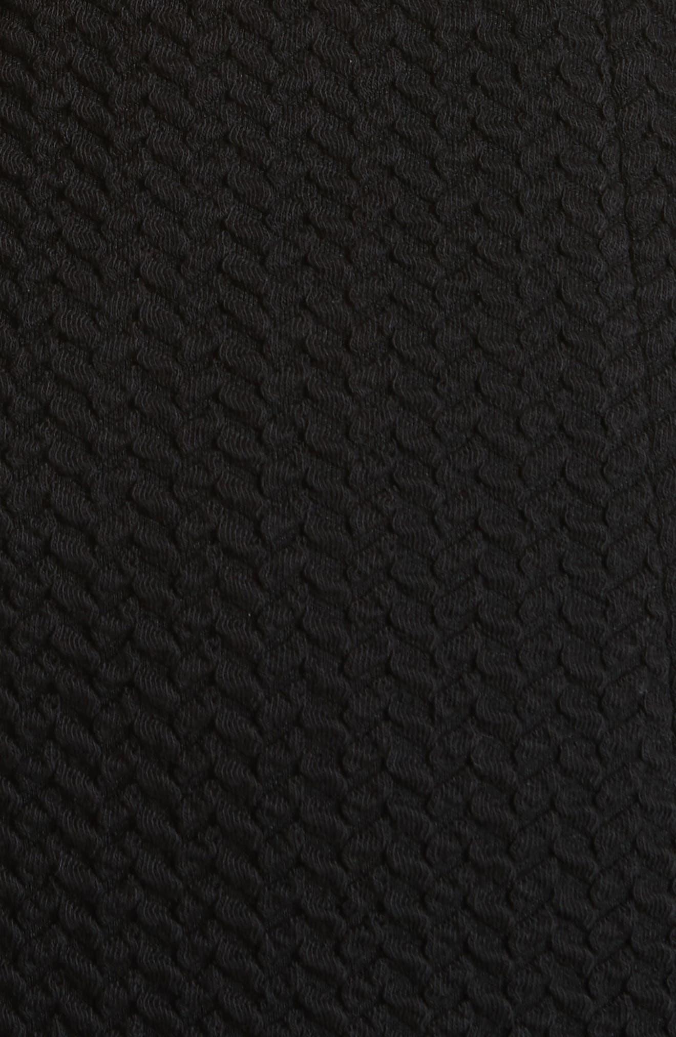 Cap Sleeve Ruffle Hem Dress,                             Alternate thumbnail 5, color,                             Black