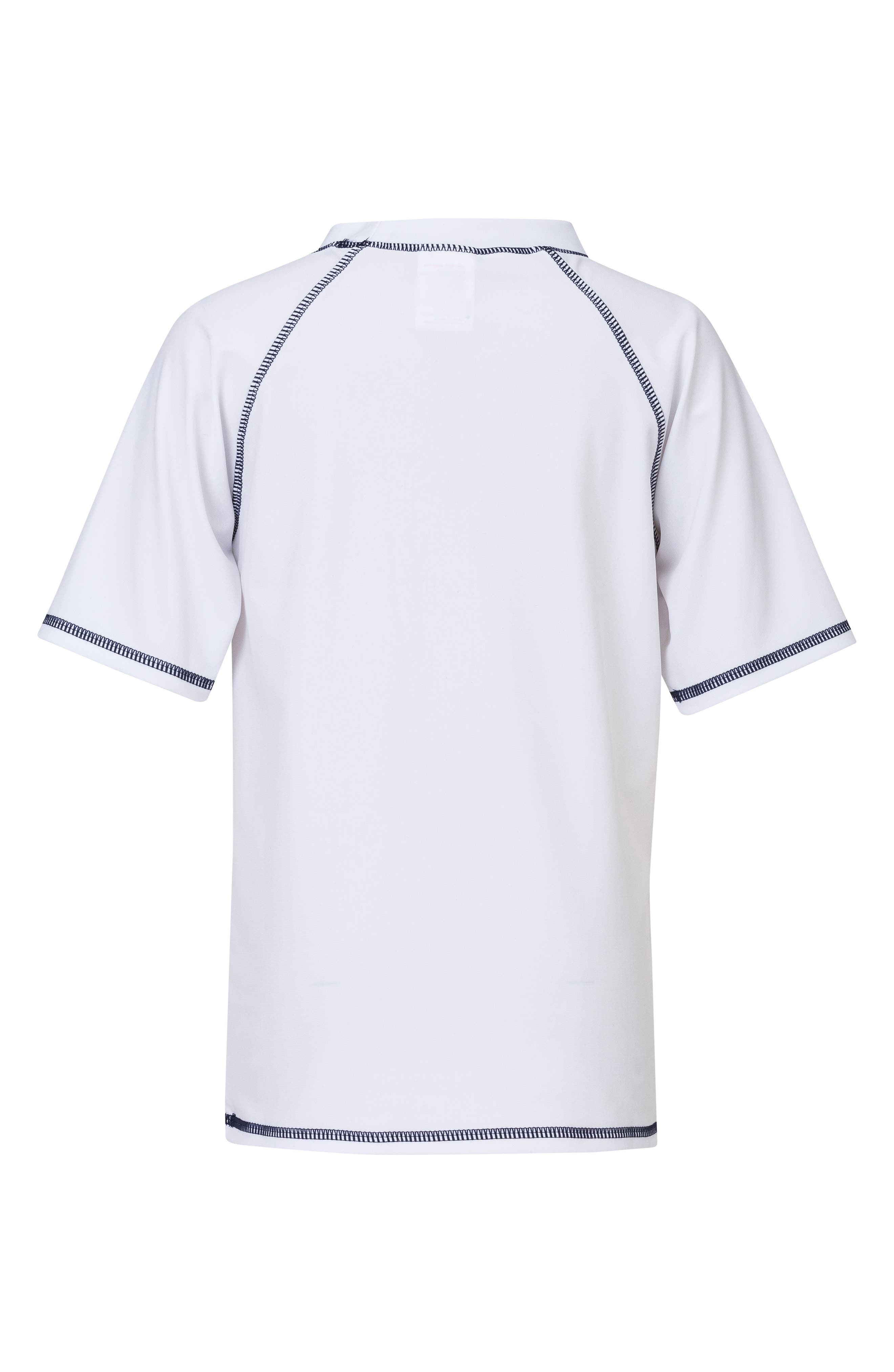 Raglan Short Sleeve Rashguard,                             Alternate thumbnail 2, color,                             White/ Navy