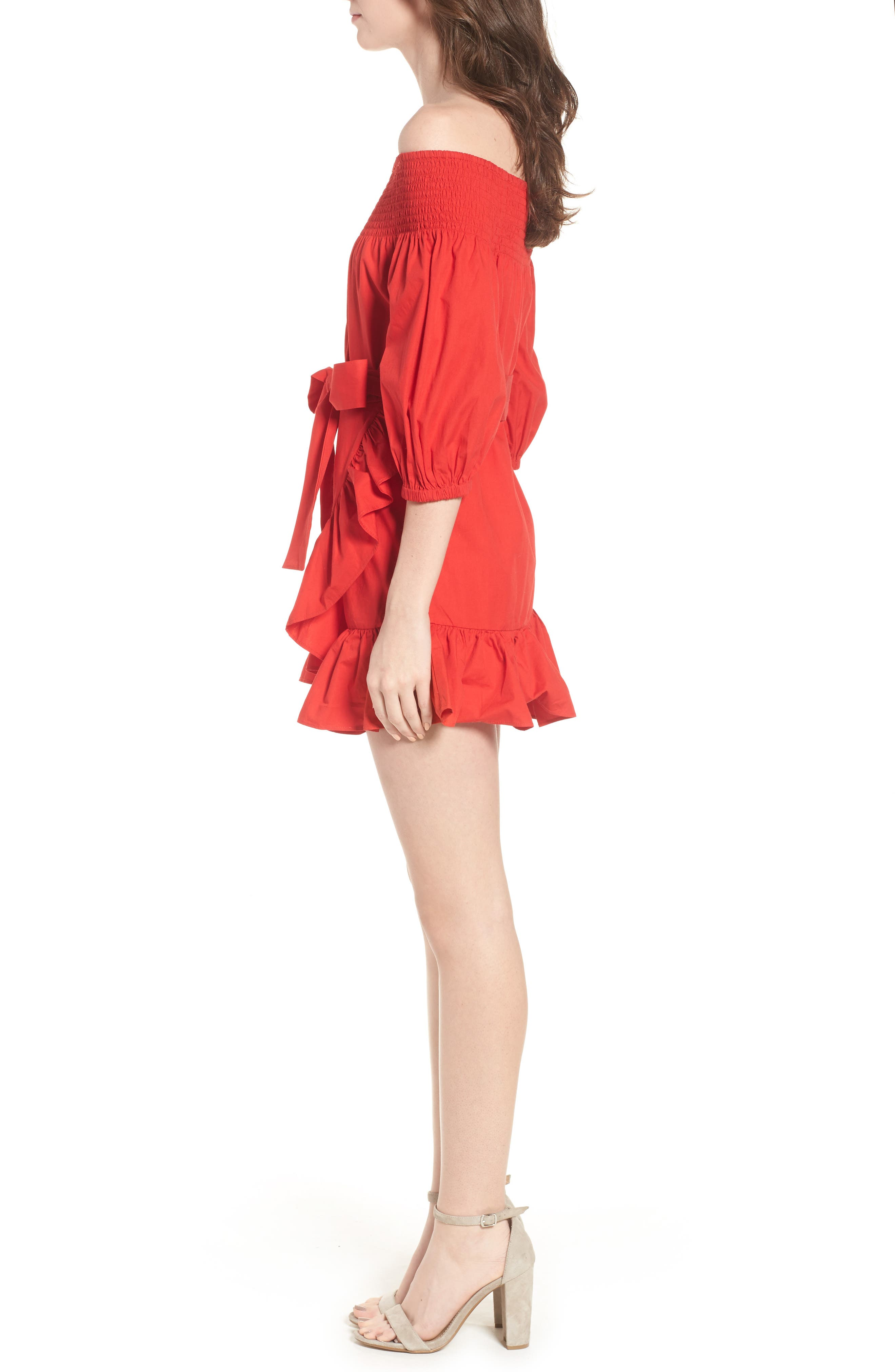 Maida Faux Wrap Ruffle Dress,                             Alternate thumbnail 3, color,                             Poppy