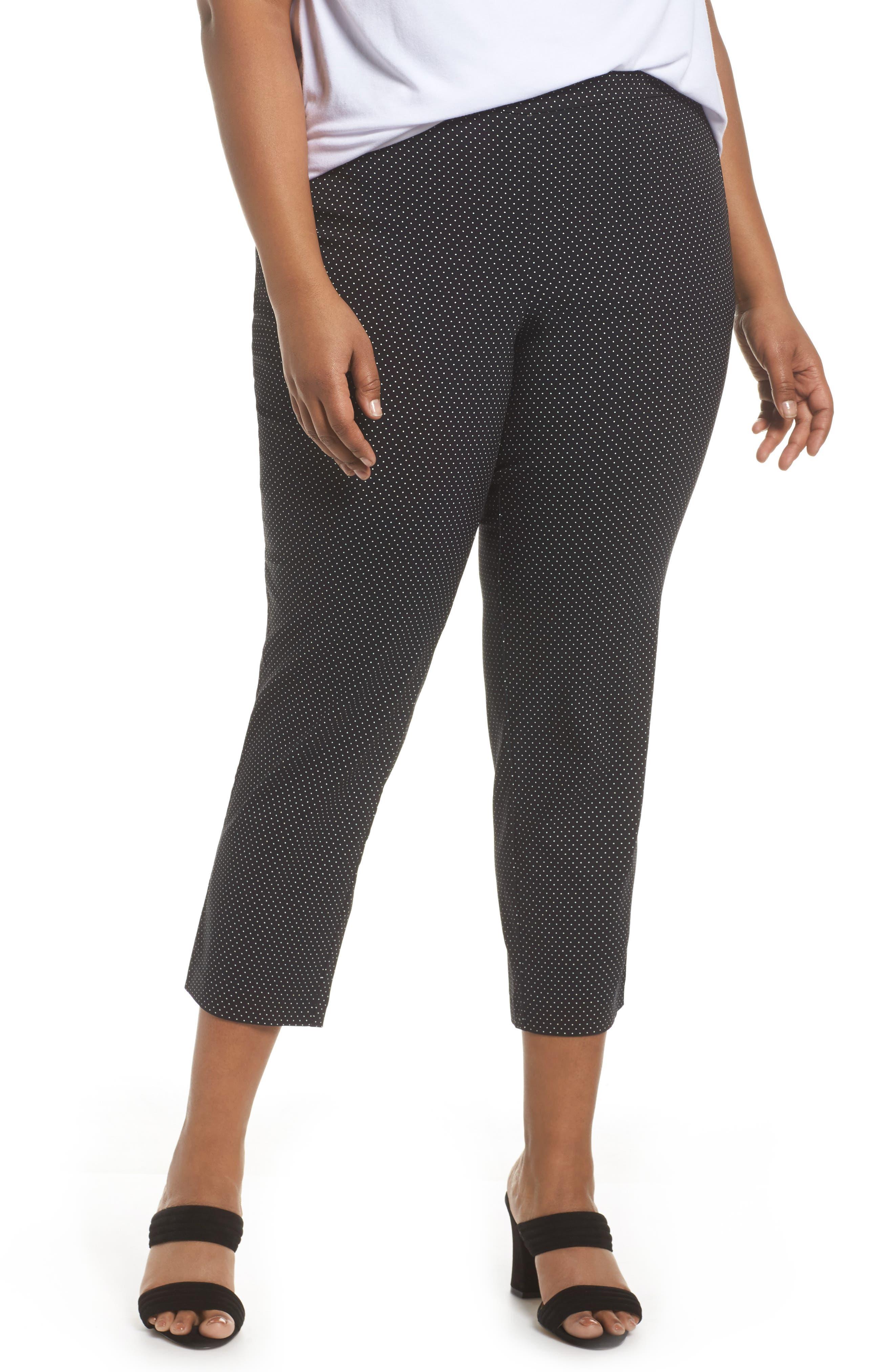 Polka Dot Crop Pants,                         Main,                         color, Black- Ivory Dot
