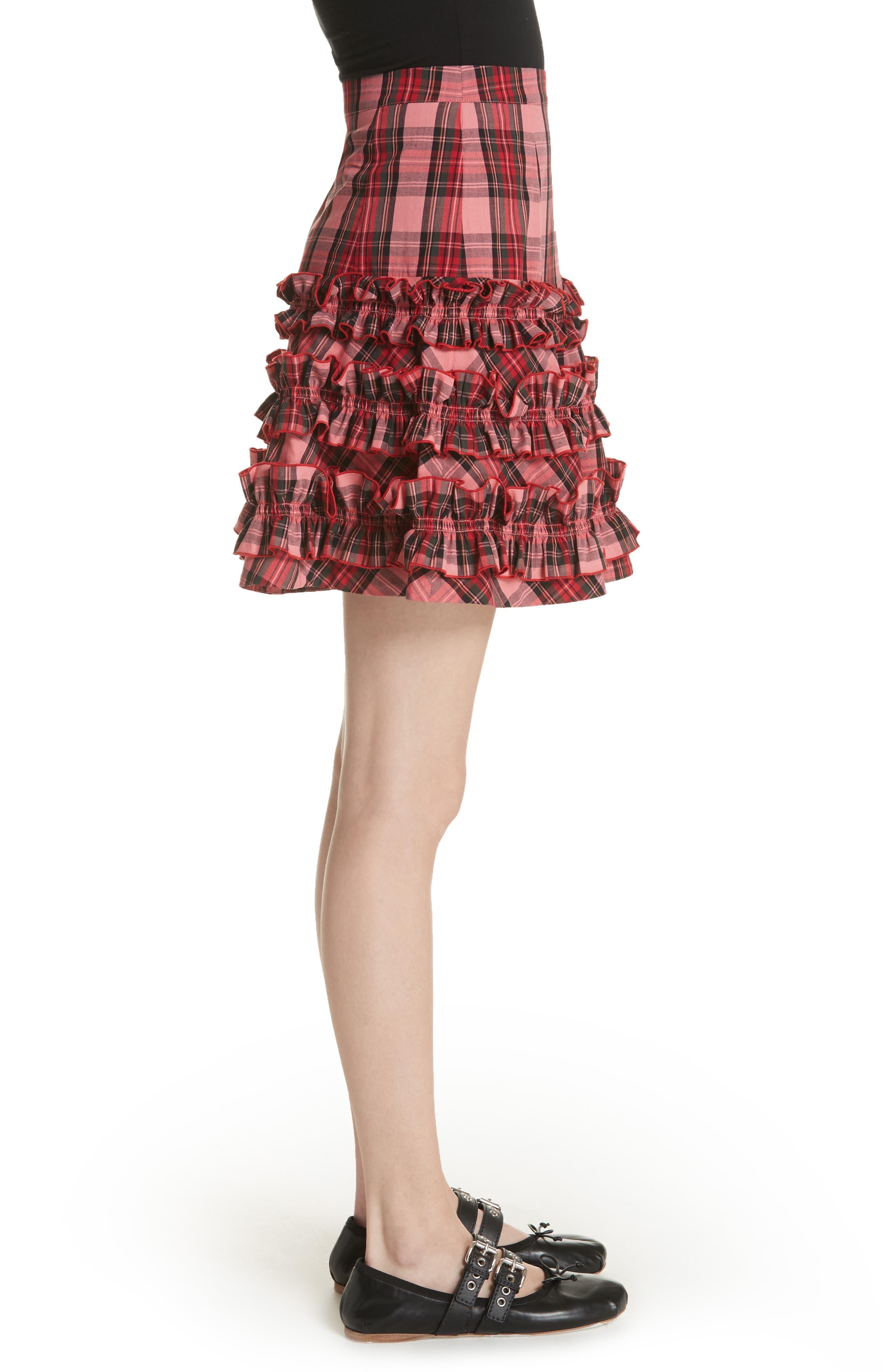 Em Ruffle Tartan Skirt,                             Alternate thumbnail 3, color,                             Pink