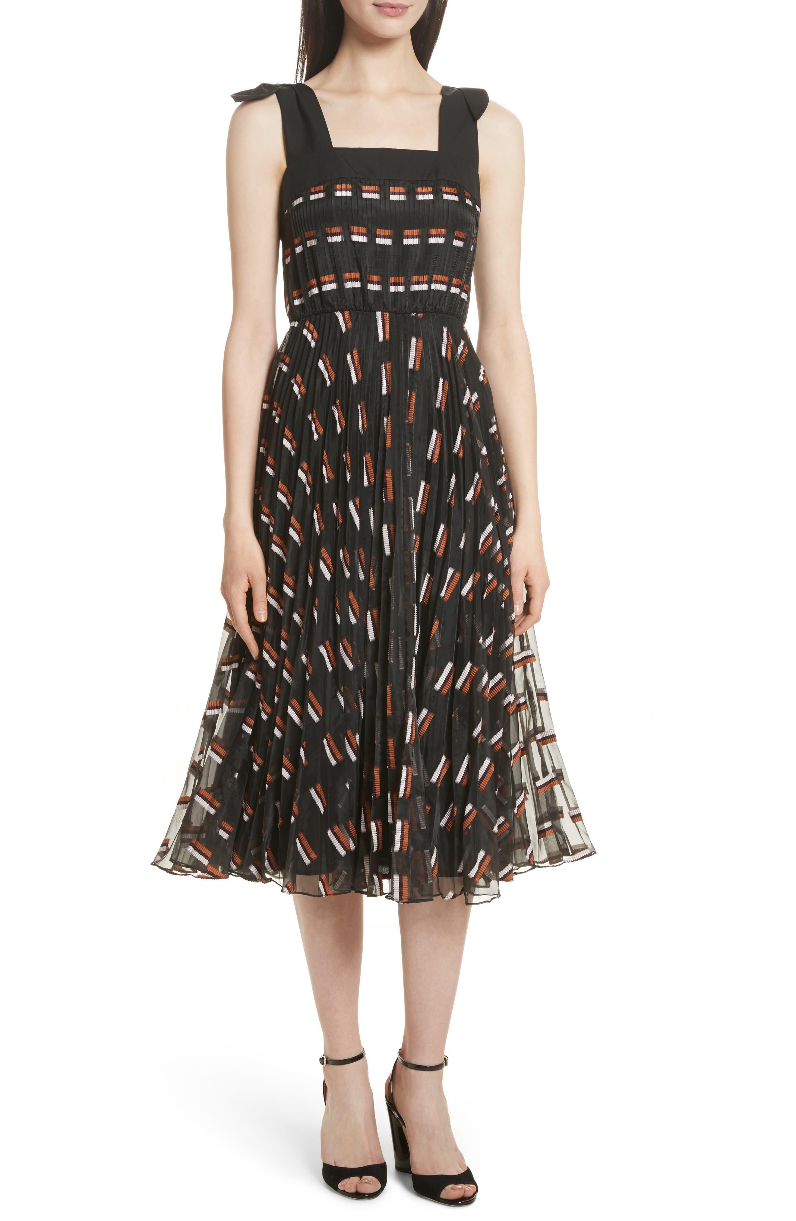 Fil Coupé Midi Dress,                             Main thumbnail 1, color,                             Ginger Multi