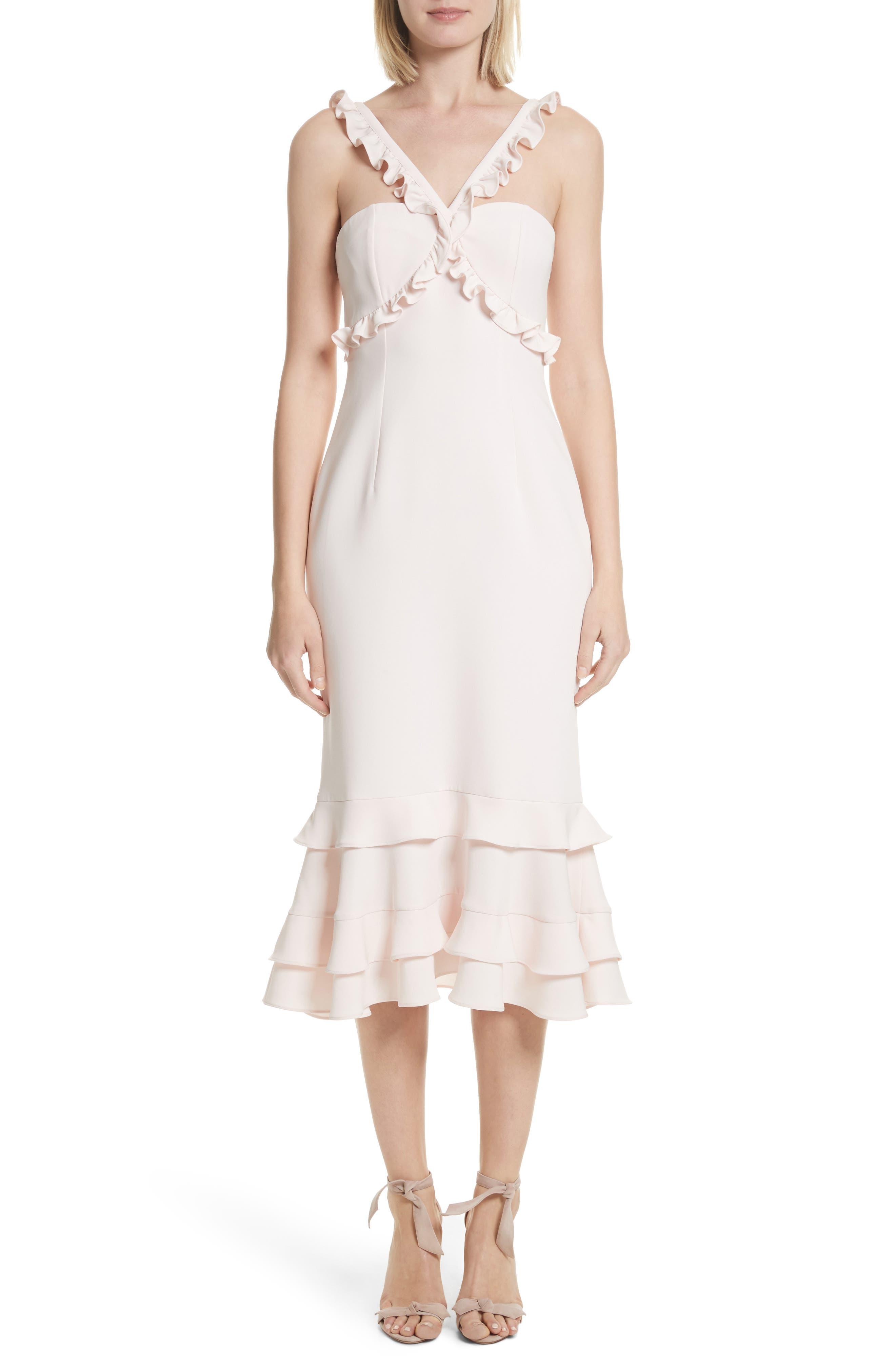 Kimora Ruffle Detail Dress,                             Main thumbnail 1, color,                             Pearl Blush