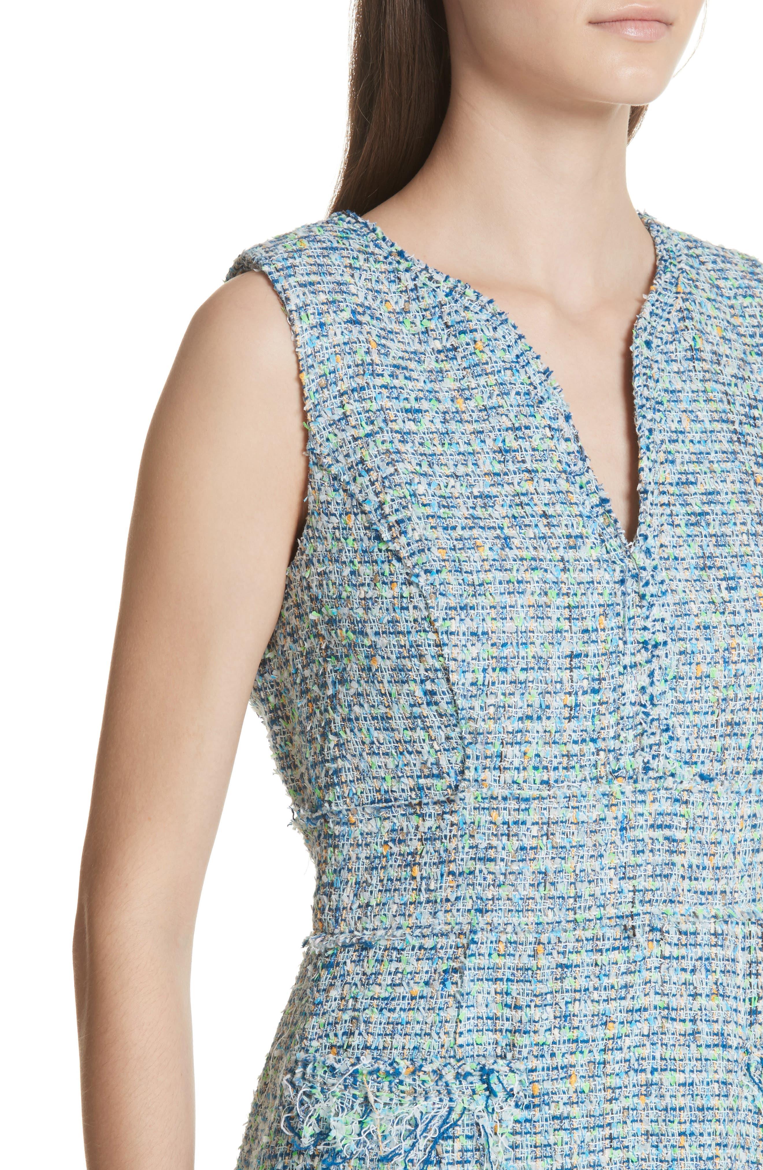 Tweed Sleeveless A-Line Dress,                             Alternate thumbnail 4, color,                             Blue